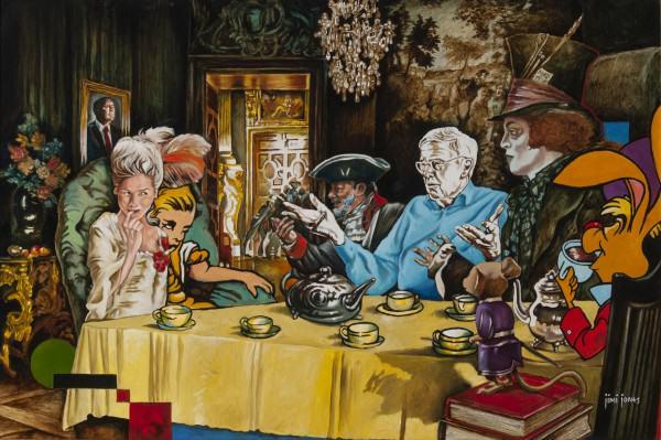 "Jimi Jones | MAD TEA PARTY | oil on canvas | 24 x 36"" | 2014"