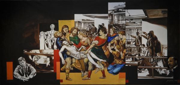"Jimi Jones | MARTYRS M| oil and acrylic on canvas  | 72x 144"" | 2008"