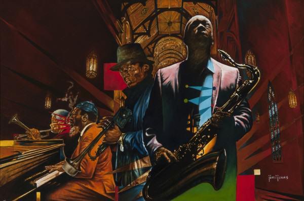 "Jimi Jones | THE GENIUS OF JAZZ | oil on canvas | 24 x 36"" | 2014"