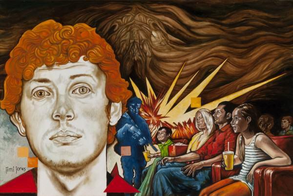 "Jimi Jones | THE MONSTER MOVIE AURORA | oil on canvas | 24 x 36"" | 2014"