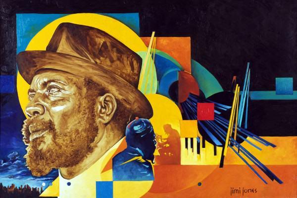 "Jimi Jones | THELONIOUS MONK | oil on canvas | 24 x 36"" | 2014"