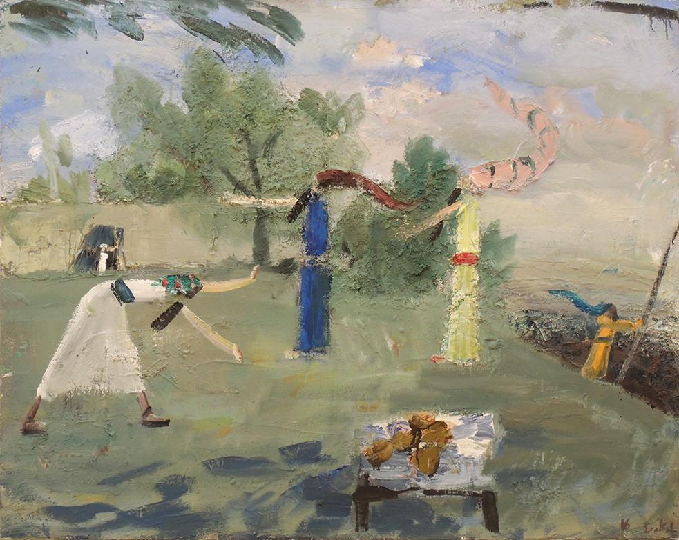 "John Bradford | THREE ANGELS, ABRAHAM, AND SARAH AT MAMRE | Acrylic and oil on canvas | 48 x 60"" | 2016"