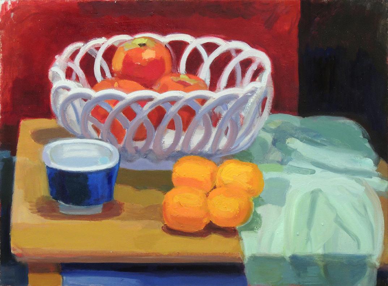 "John Goodrich   APPLES AND TANGERINES #4   Oil on canvas   18 x 24""   2014"