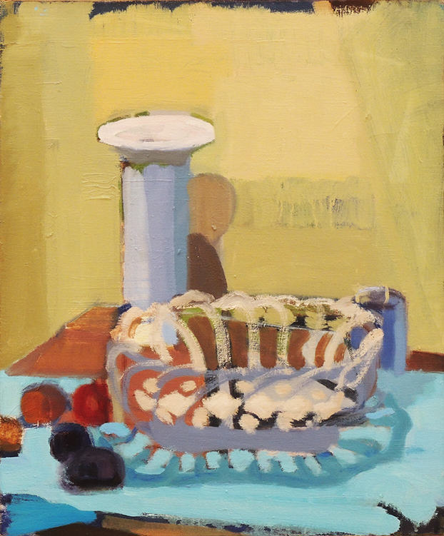 "John Goodrich   VASE AND CERAMIC BASKET   Oil on canvas   20 x 16""   2007"