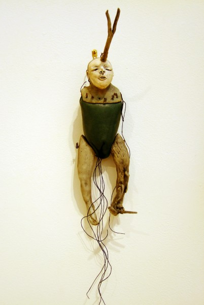 Juliellen Byrne | DOLL SERIES 4: GREEN DOLL | ceramic, leather, threa