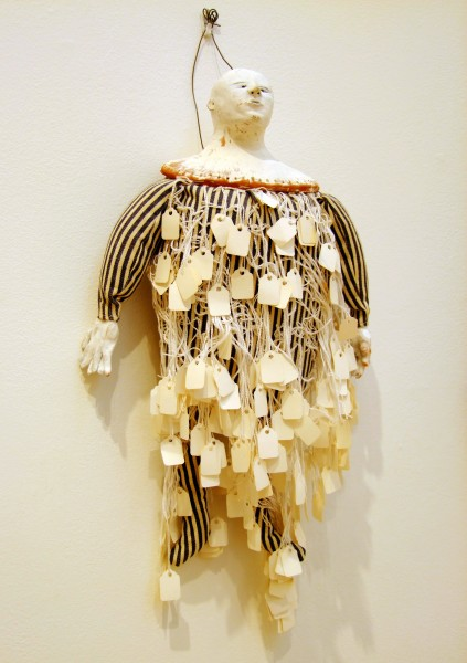 Juliellen Byrne | DOLL SERIES 9: TAG | ceramic, cotton, sawdust, paper tags