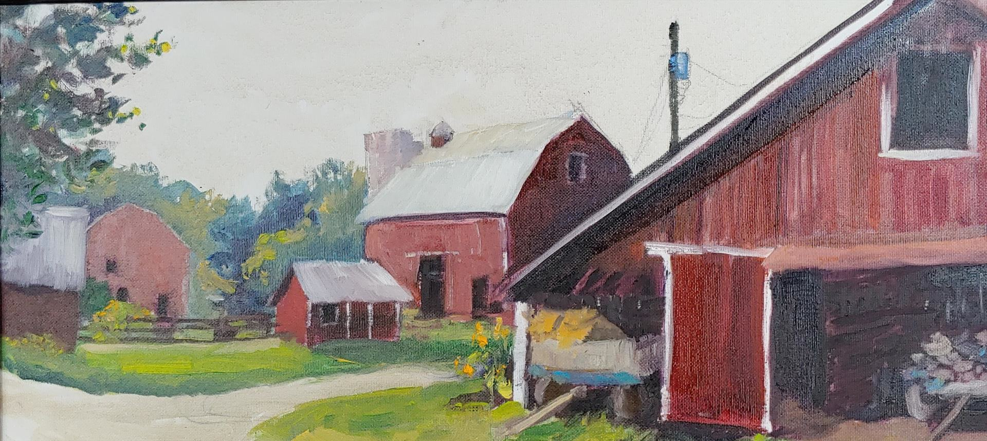 Justin Collamore | OVERCAST MORNING, MARMON VALLEY FARM | oil | 10 x 20