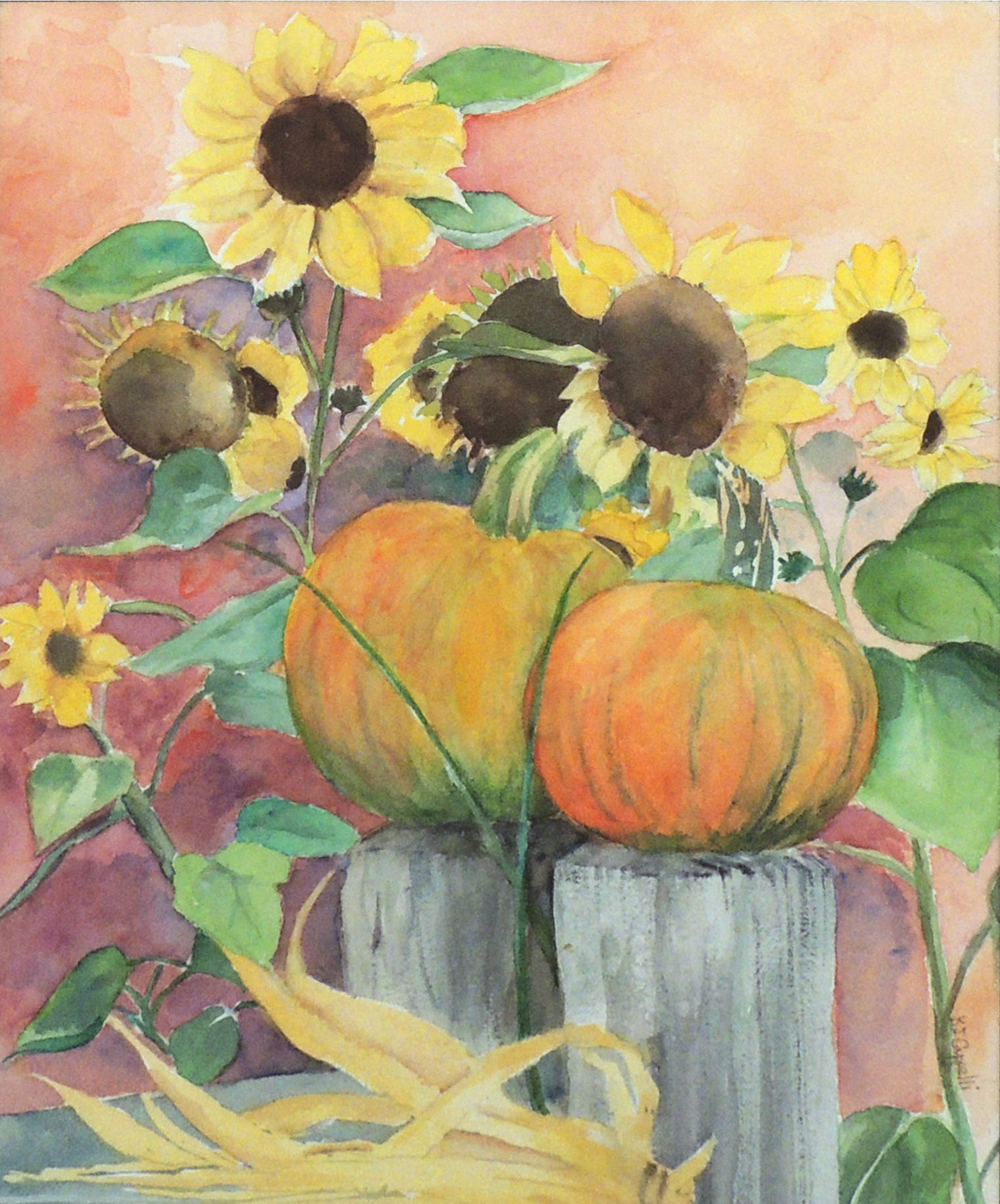 Kathleen Cappelli | SUNFLOWERS AND PUMPKINS | Watercolor
