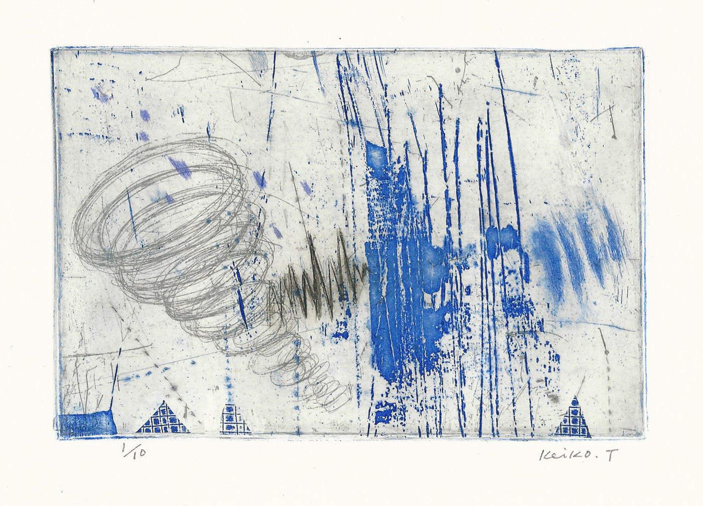 Keiko Tsuda | TEMPESTOSO | etching, drypoint | 4x6 | 2016