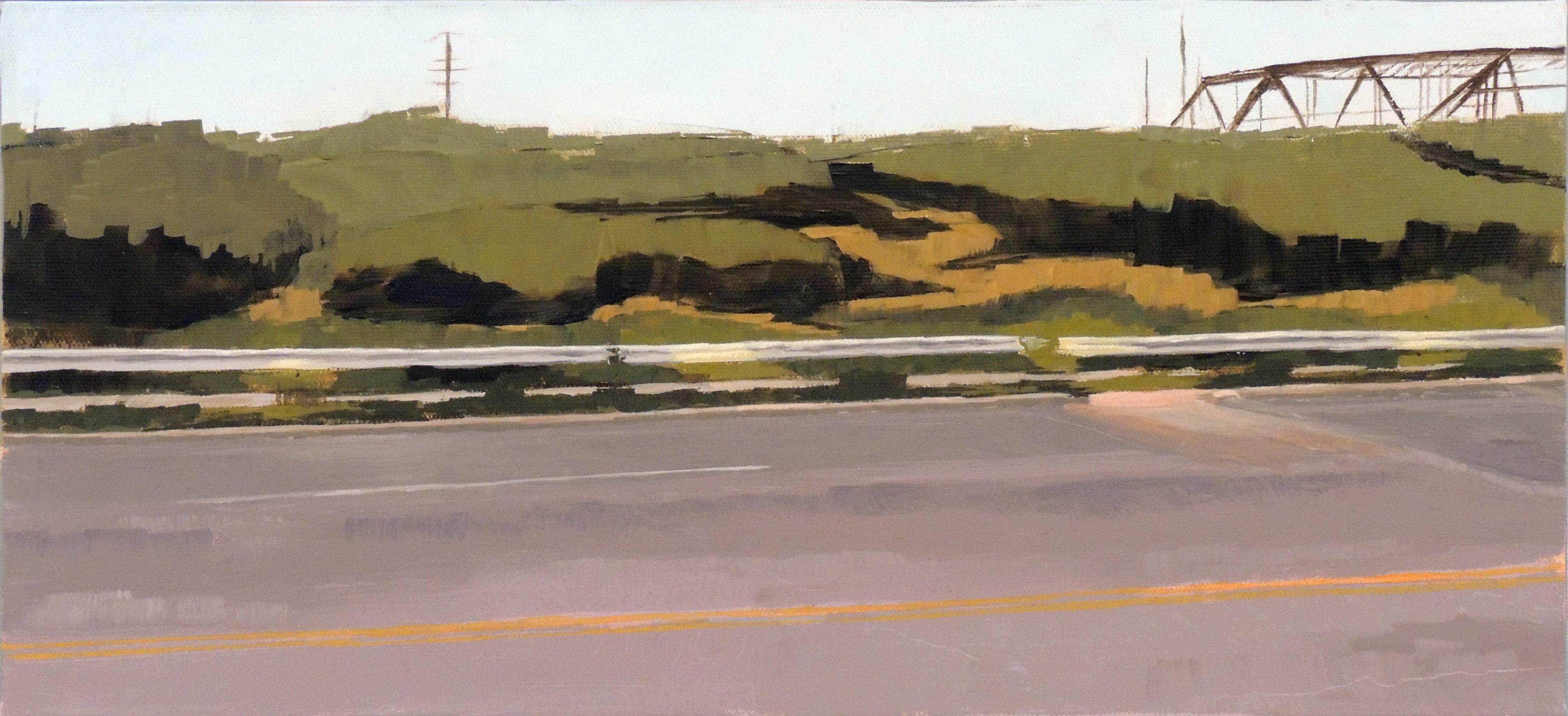 Kelley Booze | GUARDRAIL DRIVEBY | Oil on canvas
