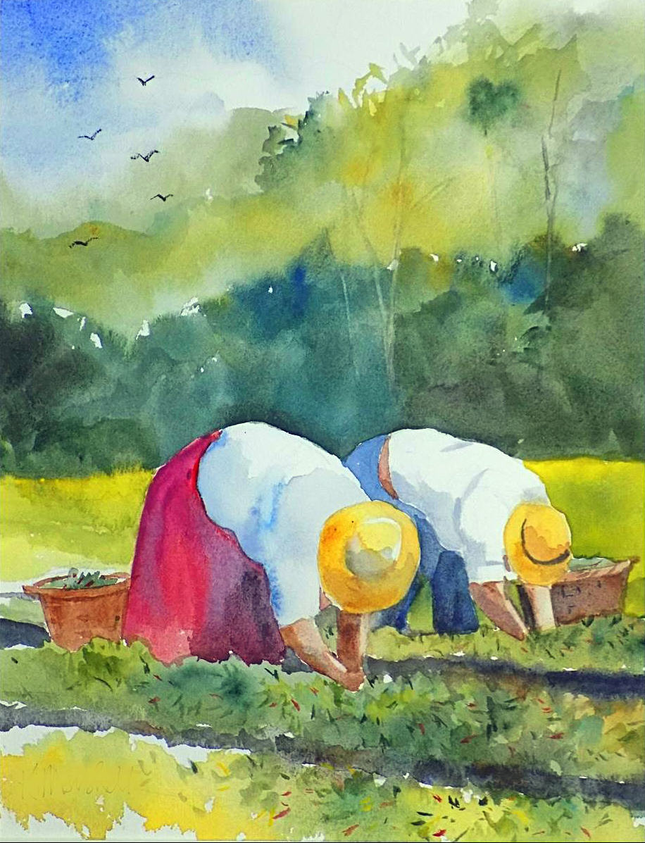 Ken Marshall | PEPPER PICKERS | watercolor | 13 x 10