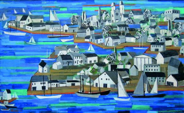 Harriet Kirkpatrick | YANKEE HARBOR (GLOUCESTER) | 1938-1940s | mixed media on panel | 30 x 48"