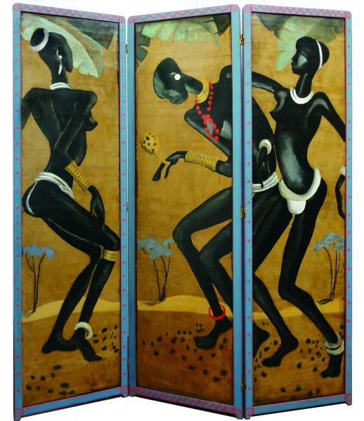 "Lucius Kutchin | DANCERS| 1930-35 | painted screen on board (two-sided triptych | 68 x 19-3/4"" each panel 