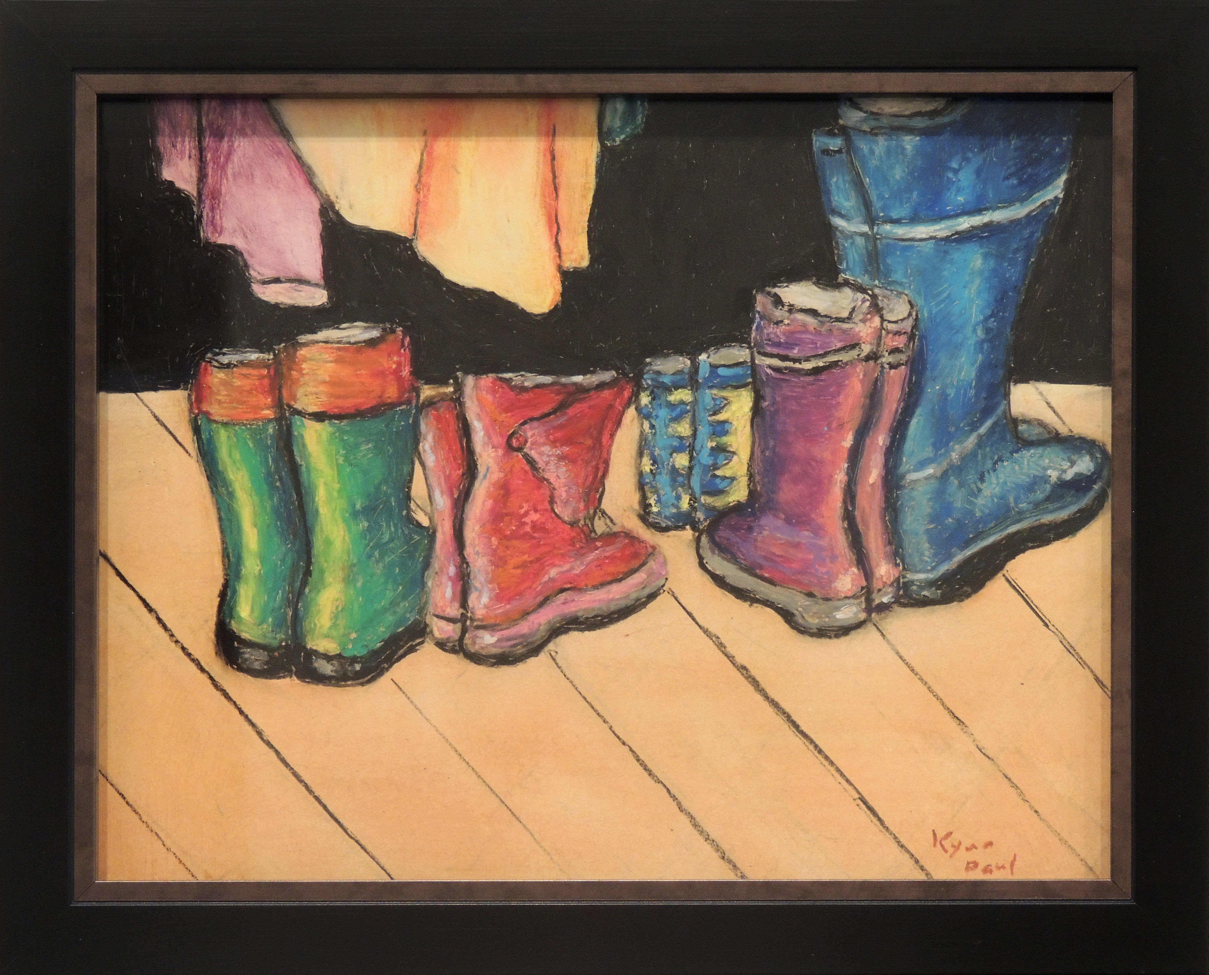 Kyna Paul | RED BOOTS | Oil Pastel