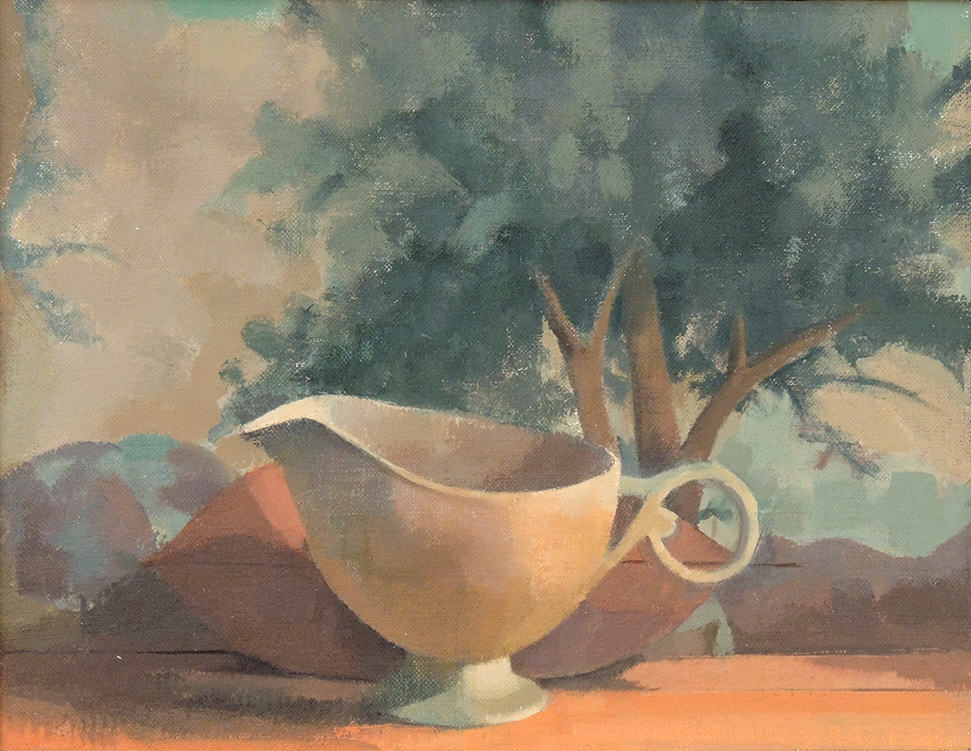 "Linda Carey | CREAMER AND PIERO'S TREE | Oil on linen on panel | 9 x 7-1/2"" | 2017"