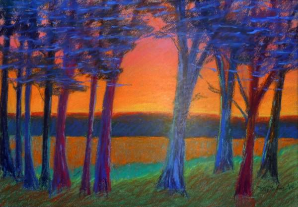 Third Place Amateur Drawing/Pastel | Margaret E.  Tabor | MAINE TREES ON THE BAY