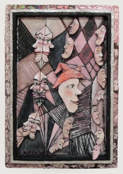 Margrit Tydings-Petrie | 3 JANUS FACES, JESTER AND ASSORTED HUMAN BEANS | papier mache, acrylic paint, etching prints in collage