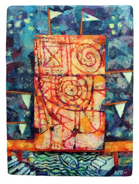 Margrit Tydings-Petrie | SIGNS, SIGNALS, AND STARS | block print on papier mache, acrylic paint