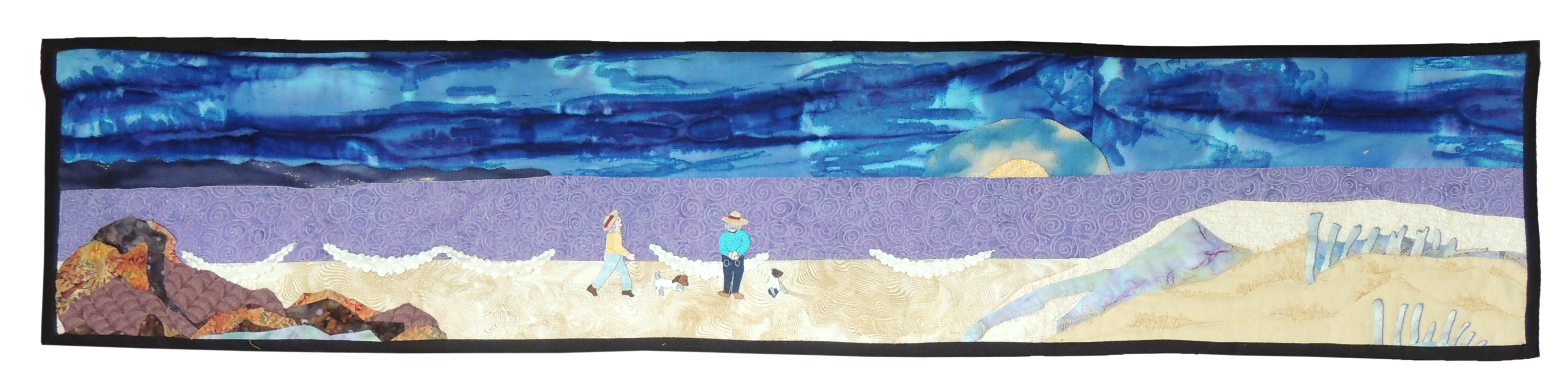 Marianne Rabb Britton | BEACH WITH JACK RUSSELLS | Fabric & Embroidery | 13.5 x 58"