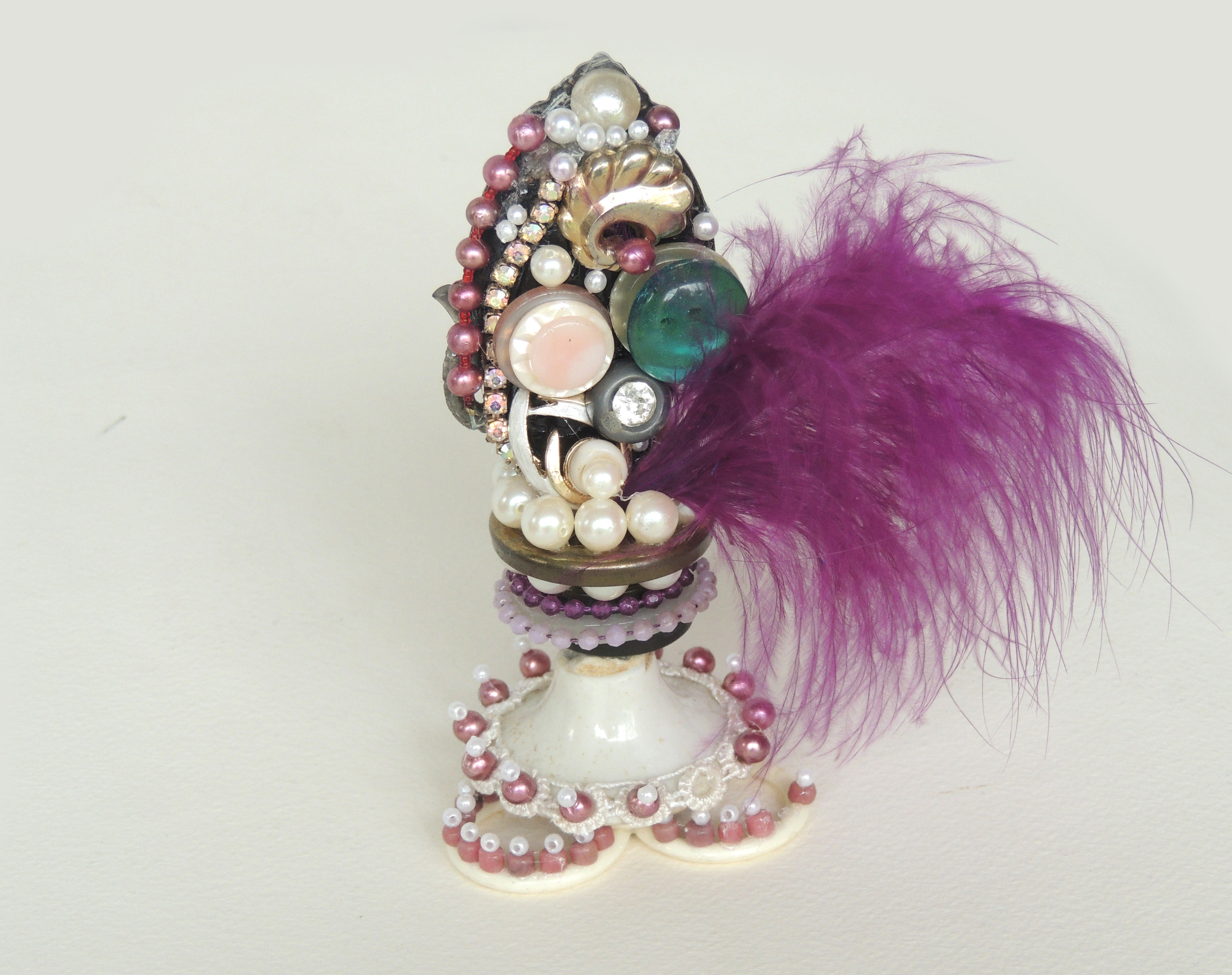 Marianne Rabb Britton | BEADS WITH PURPLE FEATHERS-SMALL | Beads & Found Objects | 5 x 4 x 2.5"