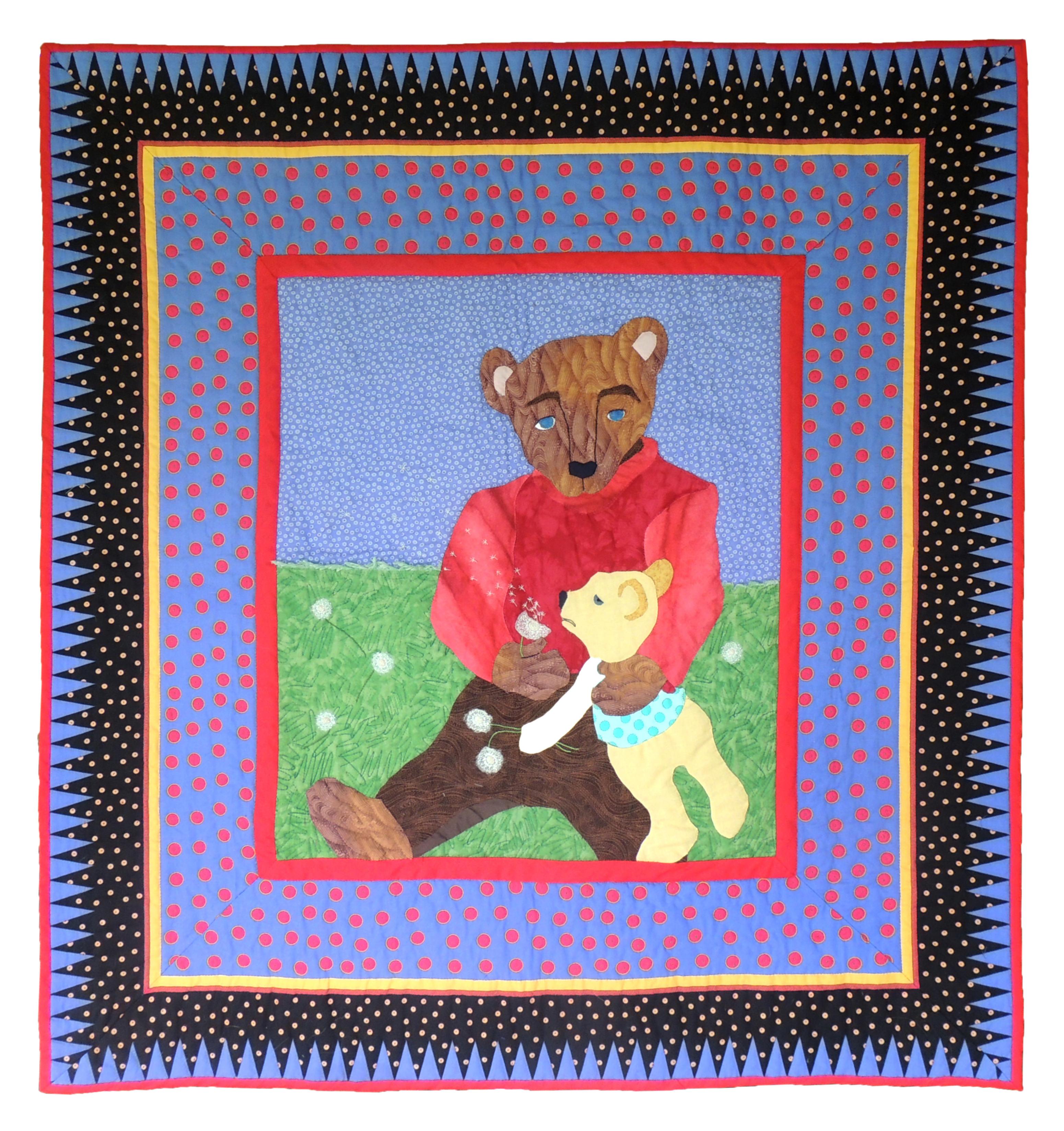 "Marianne Rabb Britton | BEAR | Fabric & Embroidery | 46.5 x 42"" | Estate of Marianne Rabb Britton"