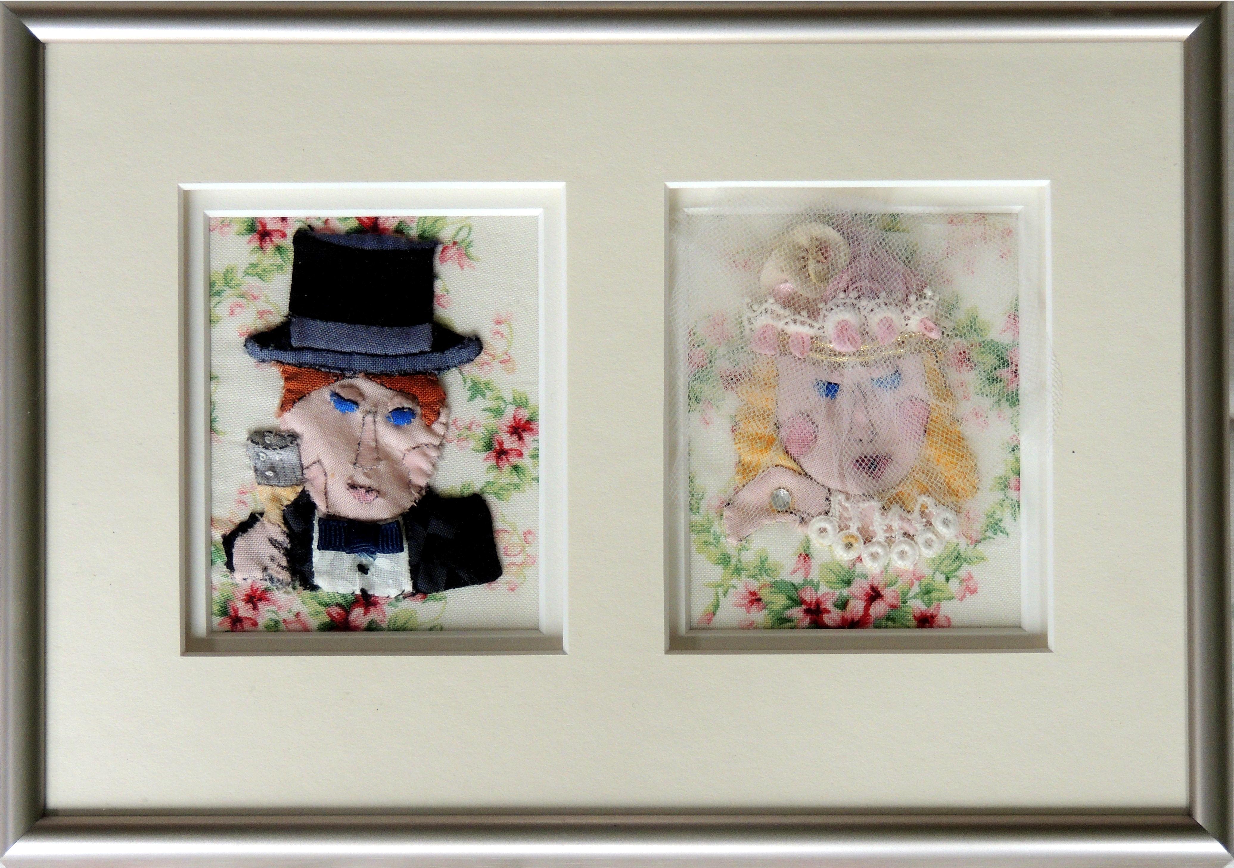 "Marianne Rabb Britton | BRIDE AND GROOM | Fabric & Embroidery | 7 x 10"" | Estate of Marianne Rabb Britton"
