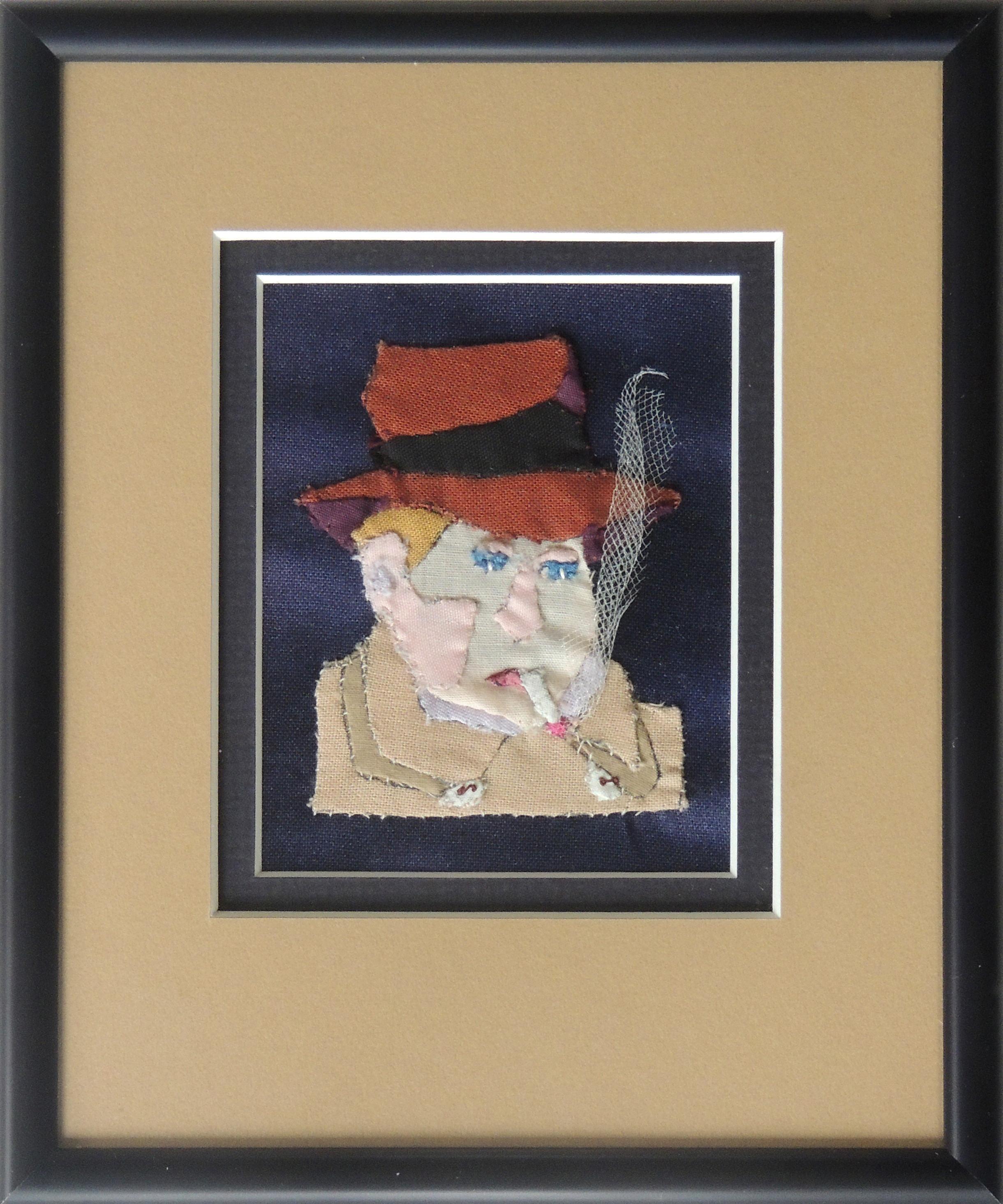 "Marianne Rabb Britton | BROWN FEDORA | Fabric & Embroidery | 7 x 6"" | Estate of Marianne Rabb Britton"