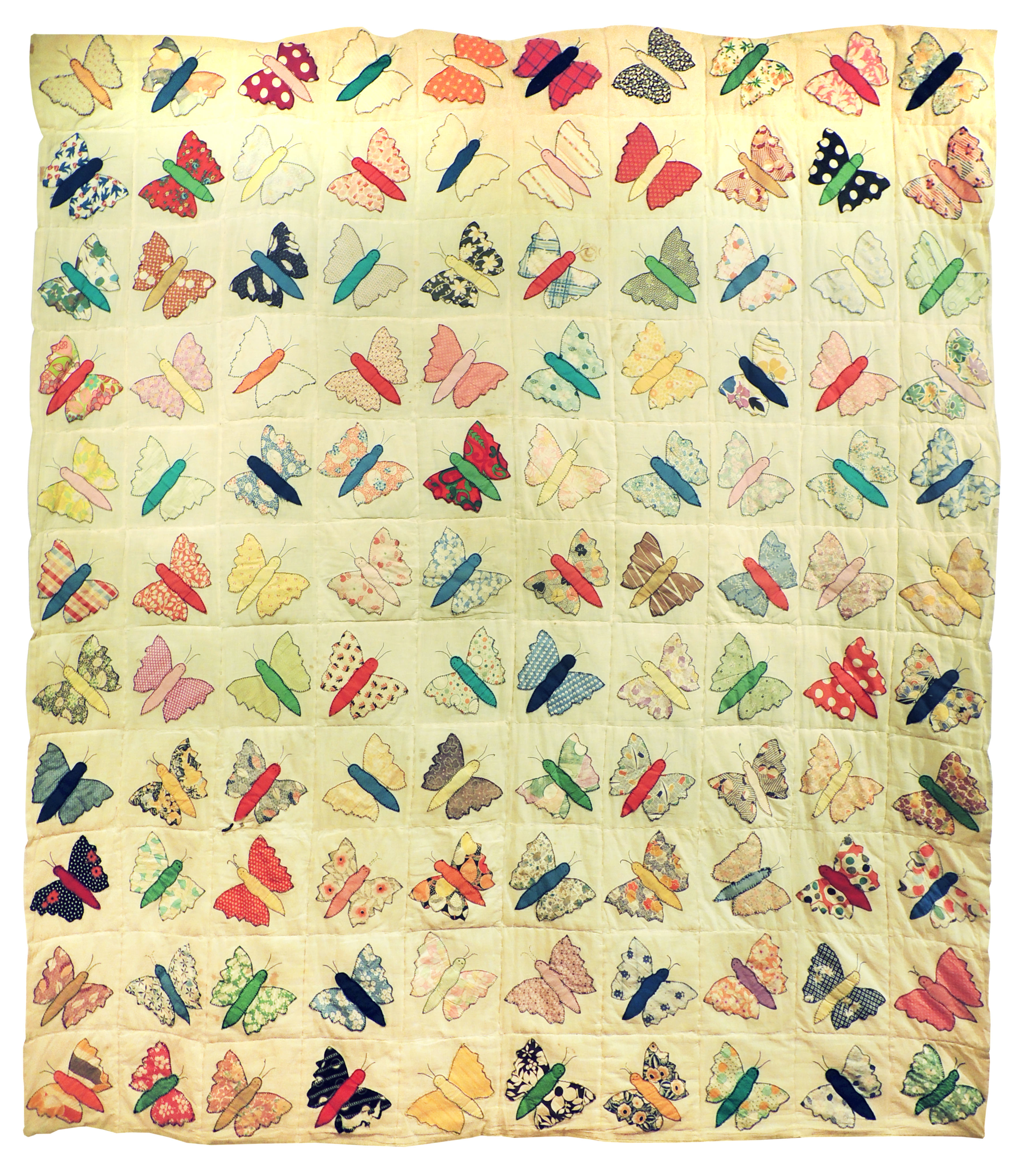 Marianne Rabb Britton | BUTTERFLY QUILT | Fabrice & Embroidery | 91 x 84"