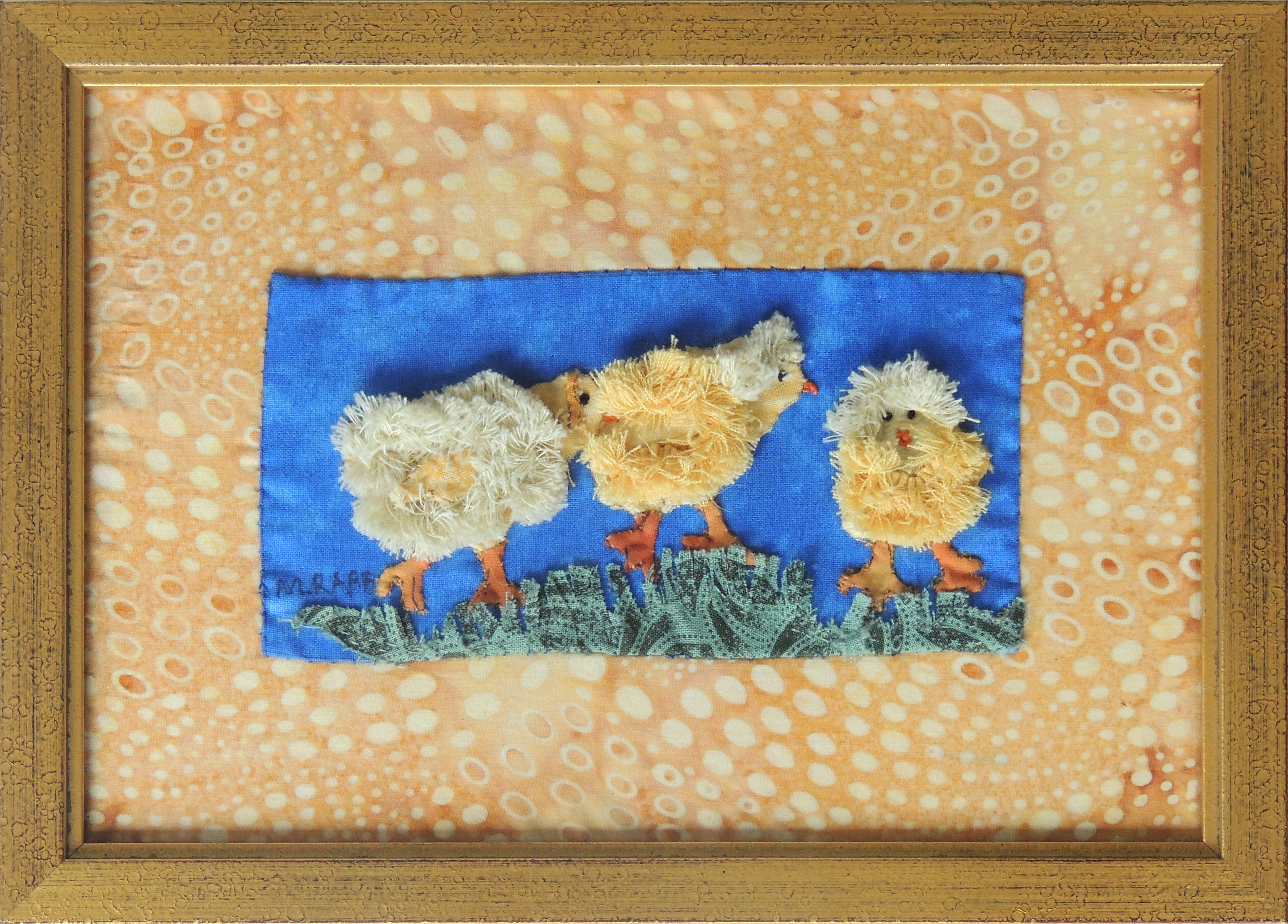 Marianne Rabb Britton | CHICKS | Fabric & Embroidery | 7 x 9.5"