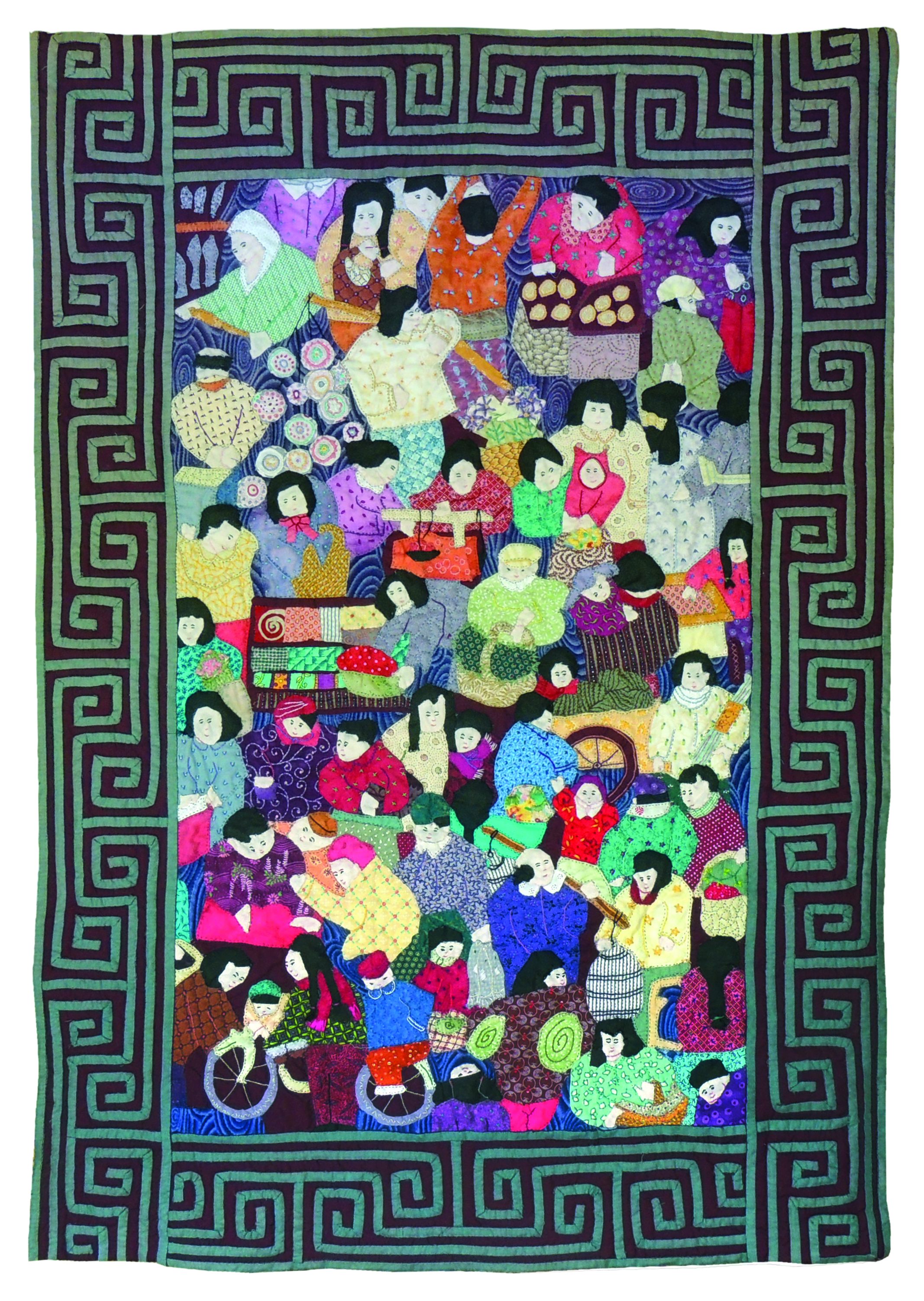 Marianne Rabb Britton | CHINESE STREET SCENE | Fabric & Embroidery | 38 x 26"