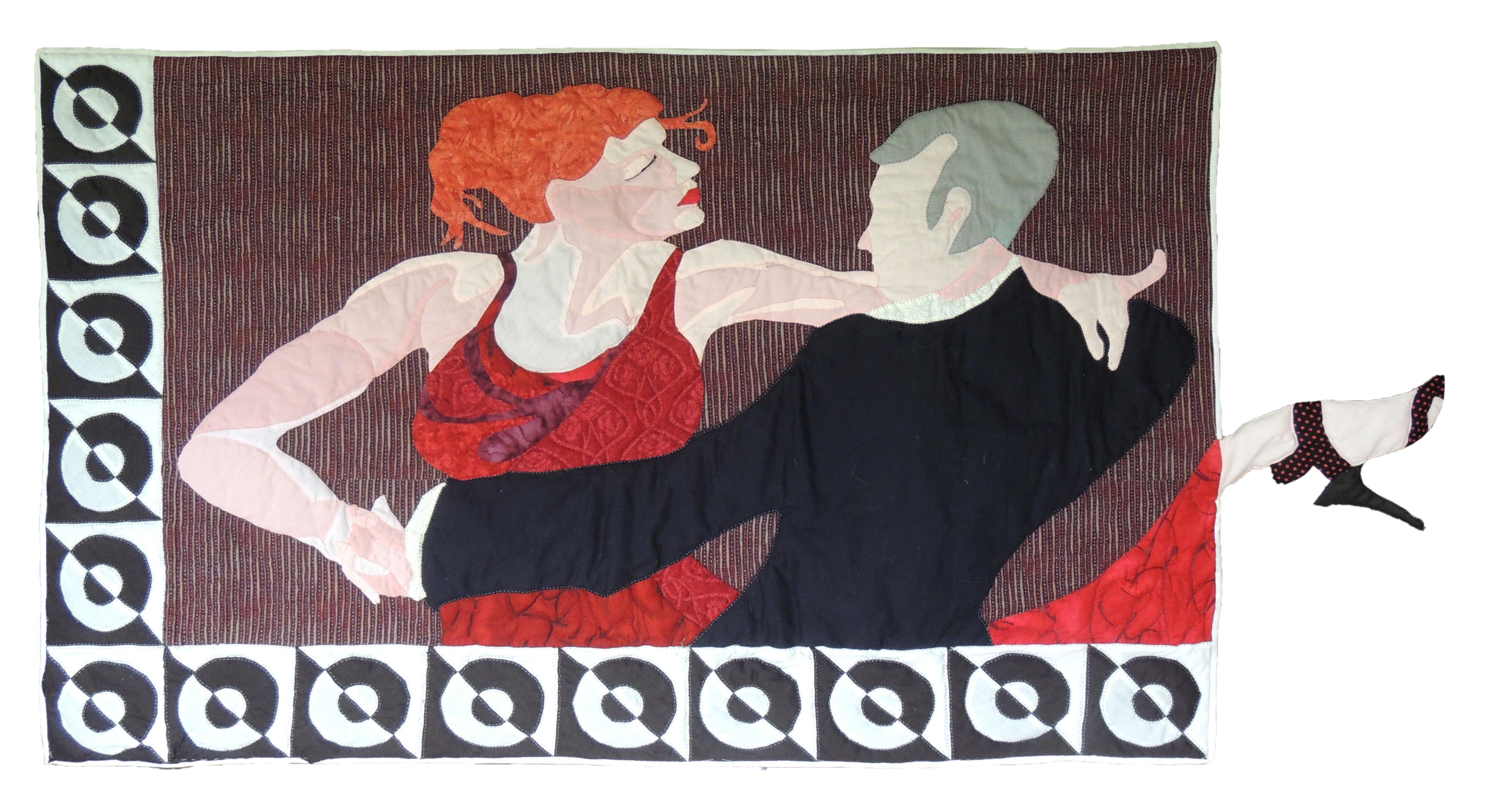 "Marianne Rabb Britton | DANCING FOOT | Fabric & Embroidery | 29 x 54""| Estate of Marianne Rabb Britton"