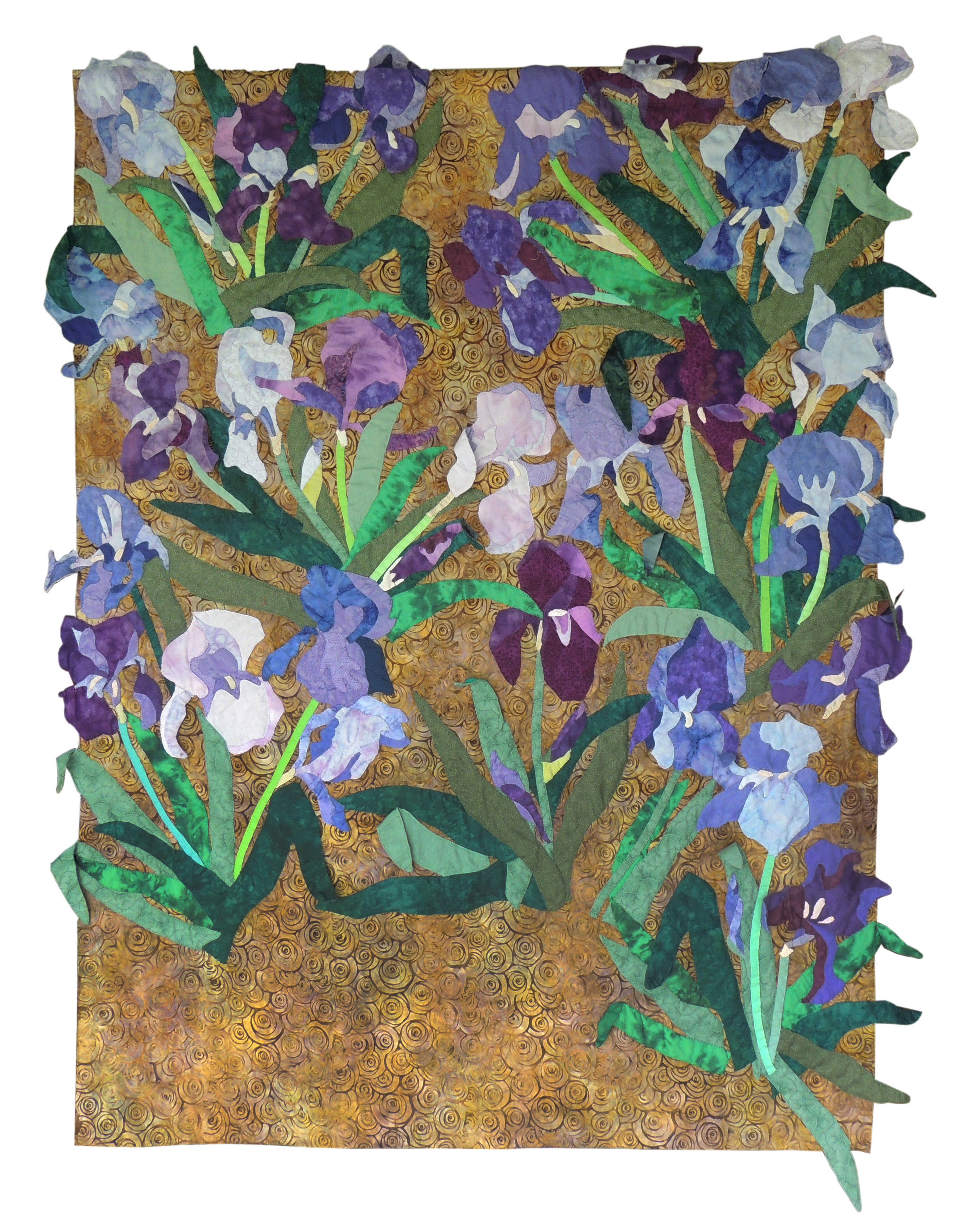 Marianne Rabb Britton | IRISES | Fabric & Embroidery | 59 x 49"