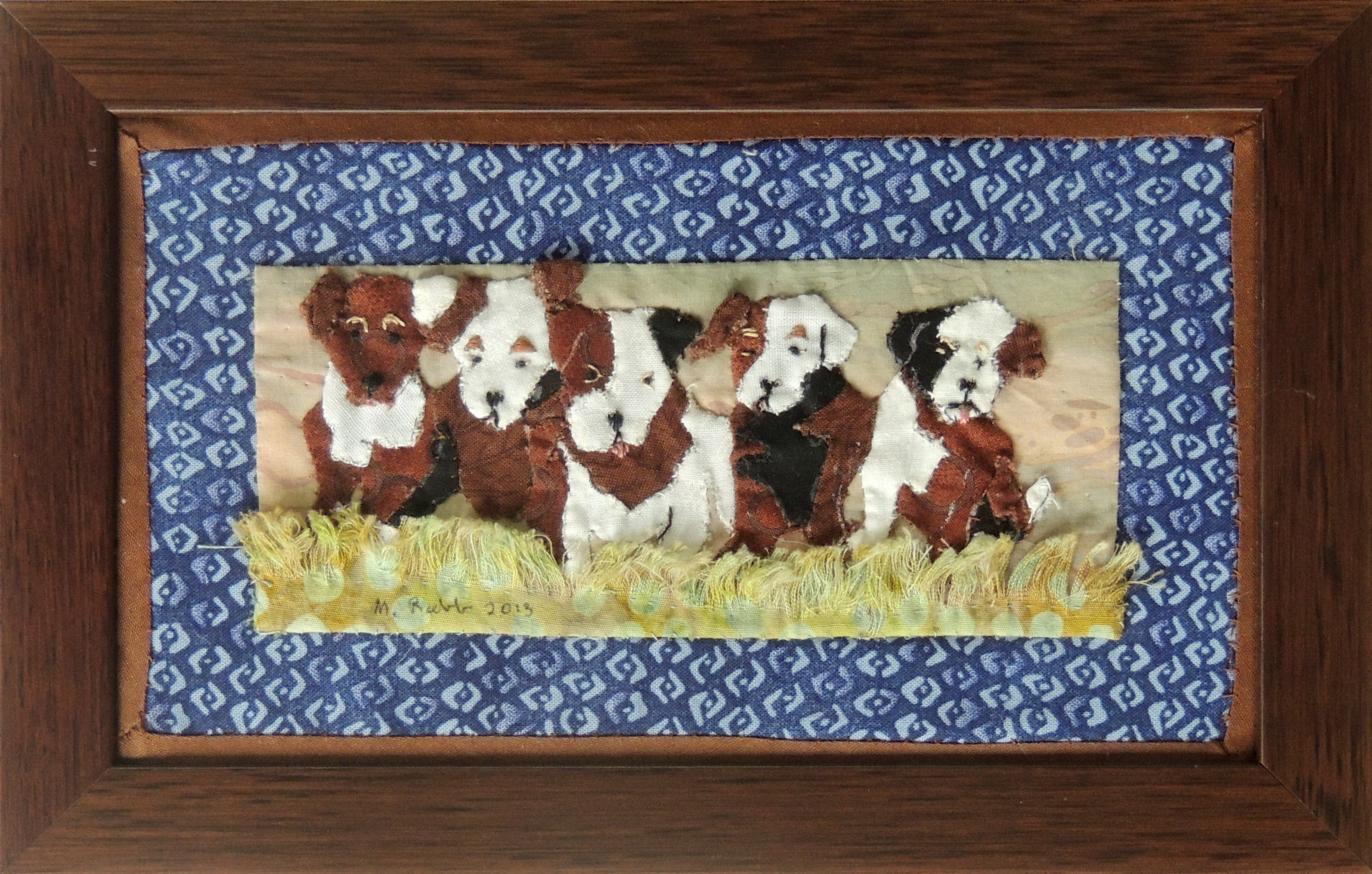 "Marianne Rabb Britton | JACK PUPPIES | Fabric & Embroidery | 6 x 9"" | Estate of Marianne Rabb Britton"