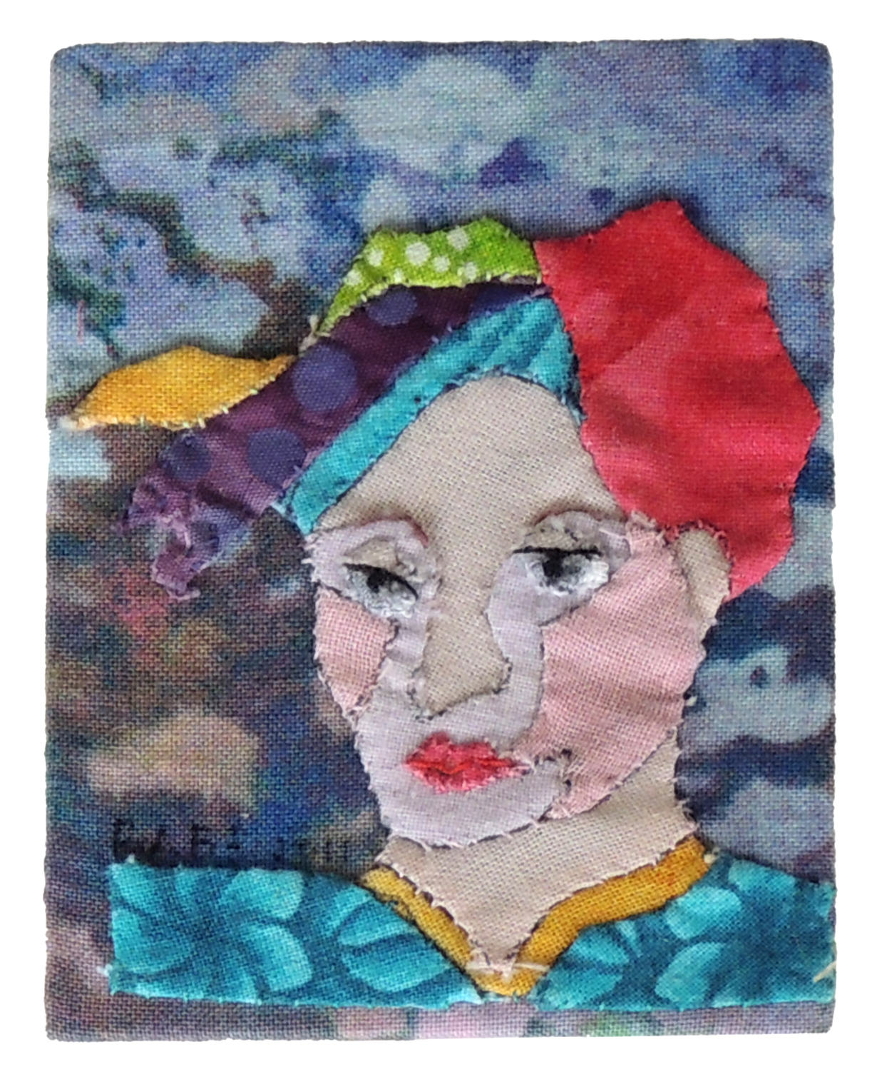 Marianne Rabb Britton | LADY WITH ABSTRACT HAIR | Fabric & Embroidery | 3.5 x 2.5"