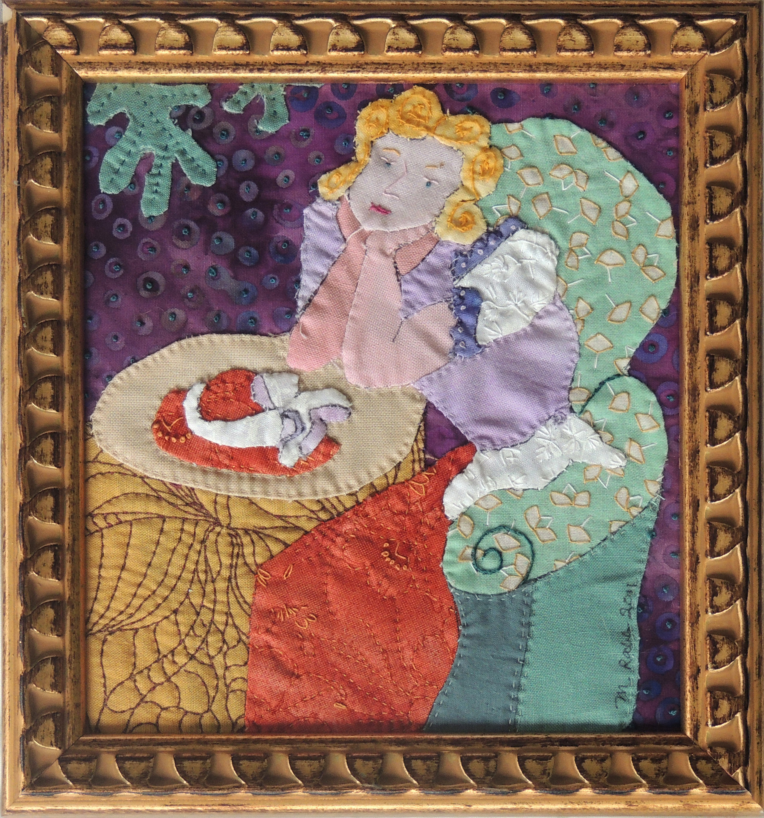 Marianne Rabb Britton | MATISSE LADY | Fabric & Embroidery | 8 x 8"
