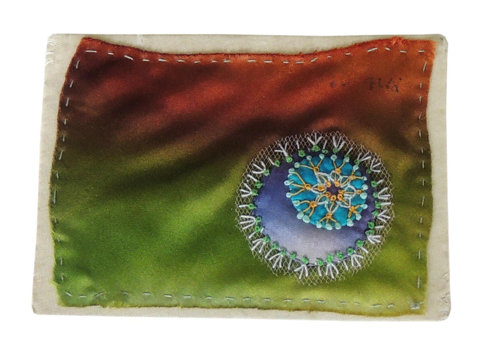 "Marianne Rabb Britton | MOLECULE ABSTRACT | Fabric & Embroidery | 3 x 4"" | Estate of Marianne Rabb Britton"
