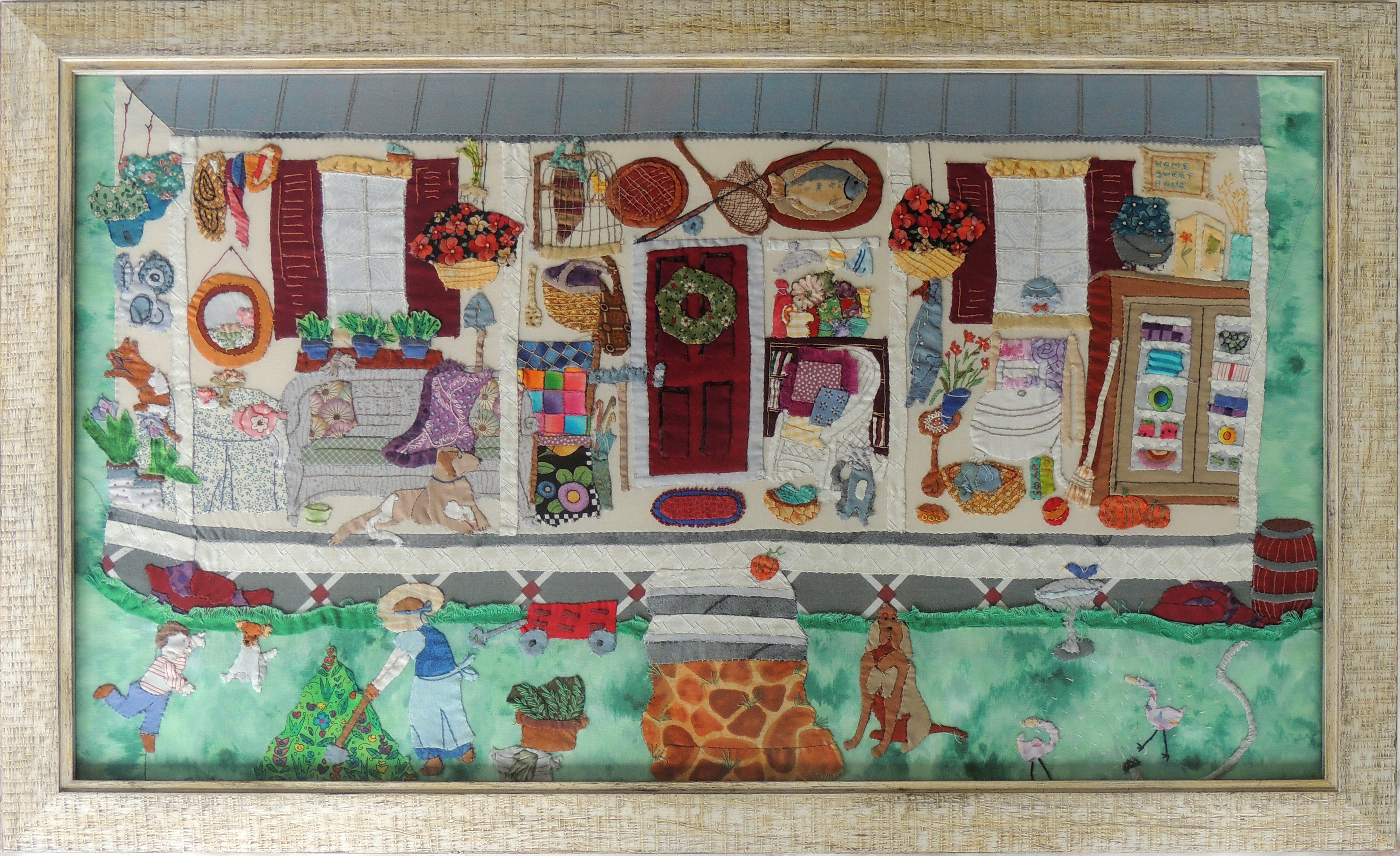 Marianne Rabb Britton | MY OLD KENTUCKY HOME | Fabric & Embroidery | 16.5 x 26.5"