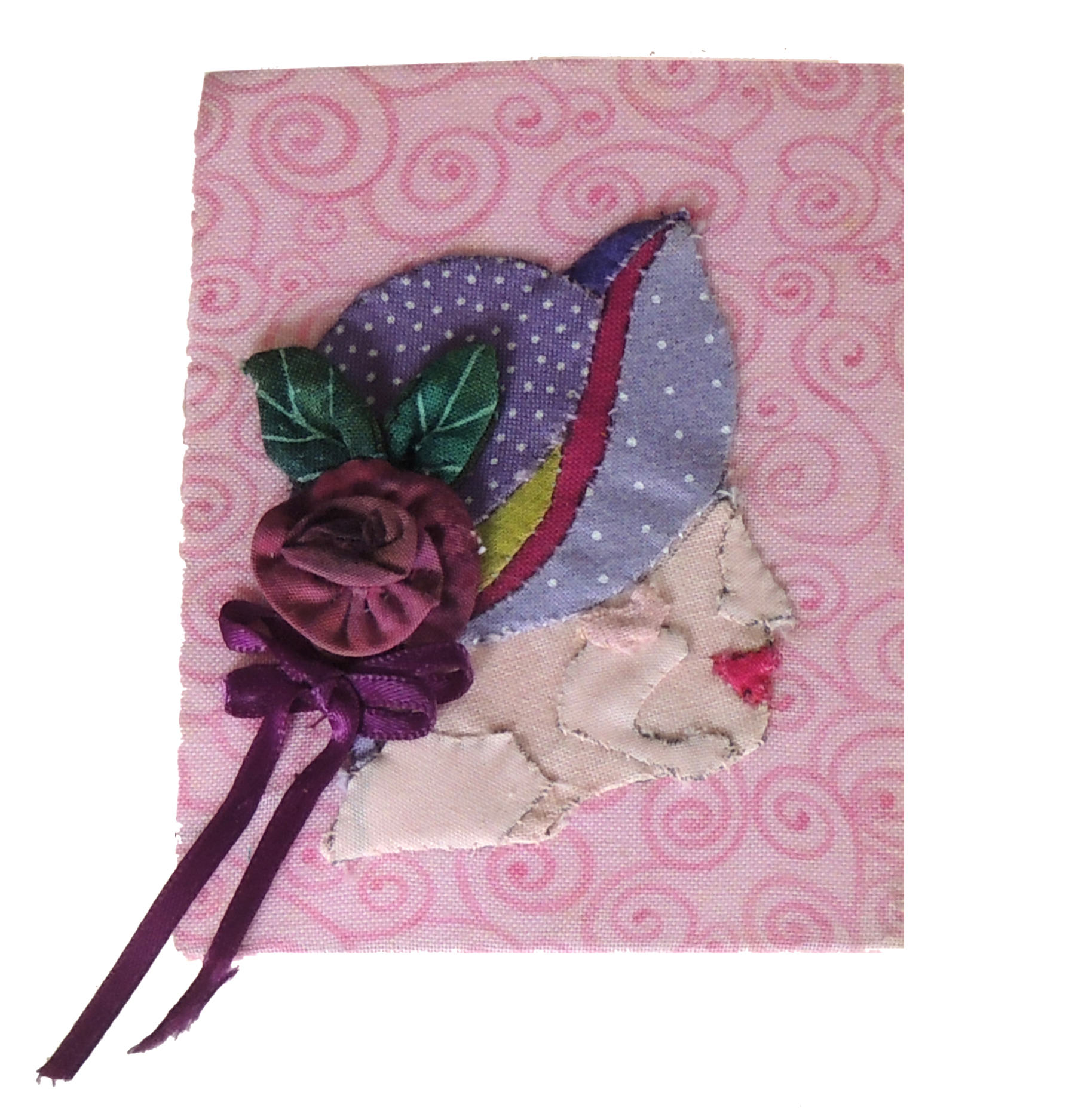 Marianne Rabb Britton | PURPLE HAT WITH FLOWER | Fabric & Embroidery | 4 x 3"