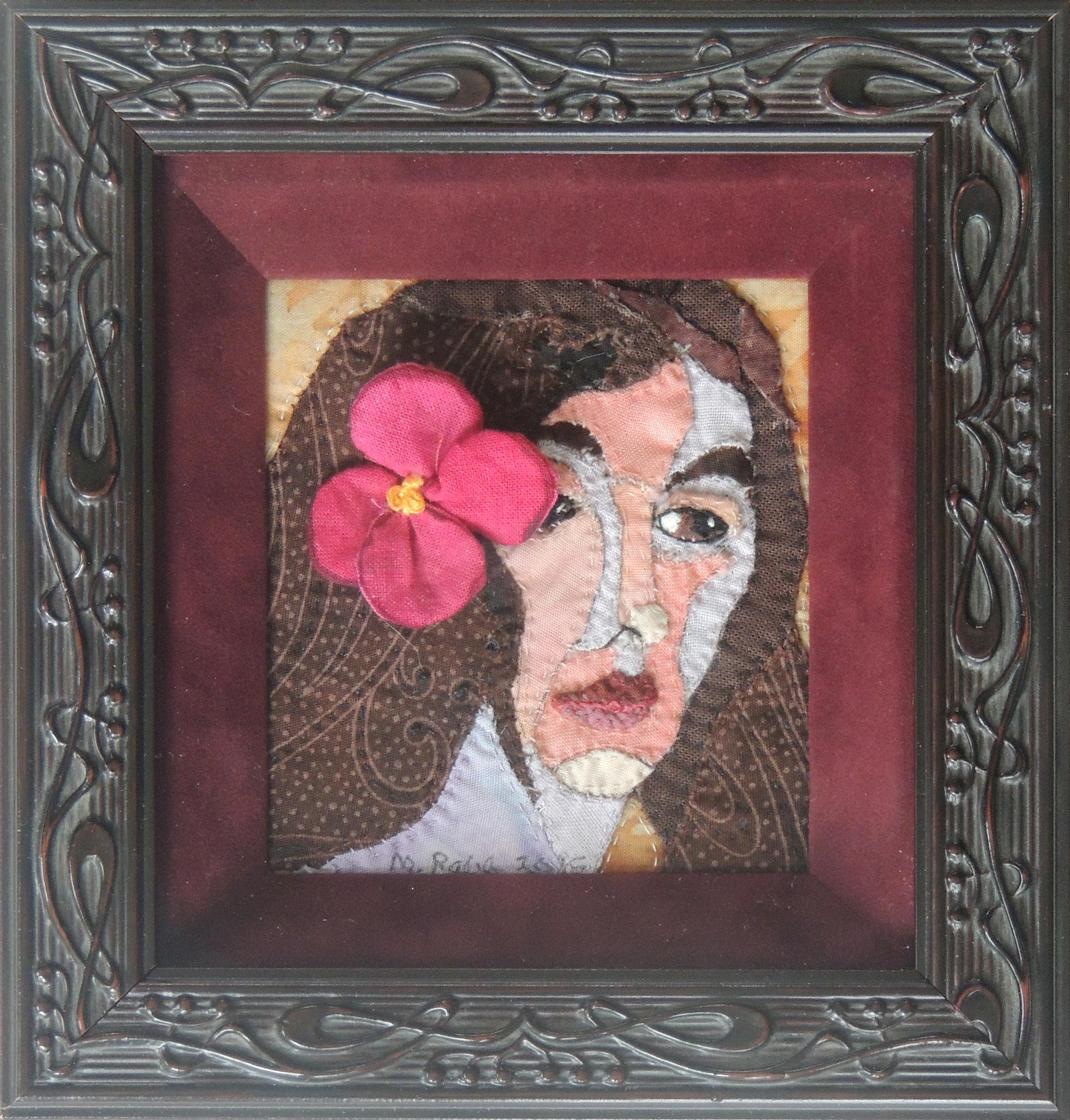 "Marianne Rabb Britton | RED FLOWER | Fabric & Embroidery | 6 x 6"" | Estate of Marianne Rabb Britton"