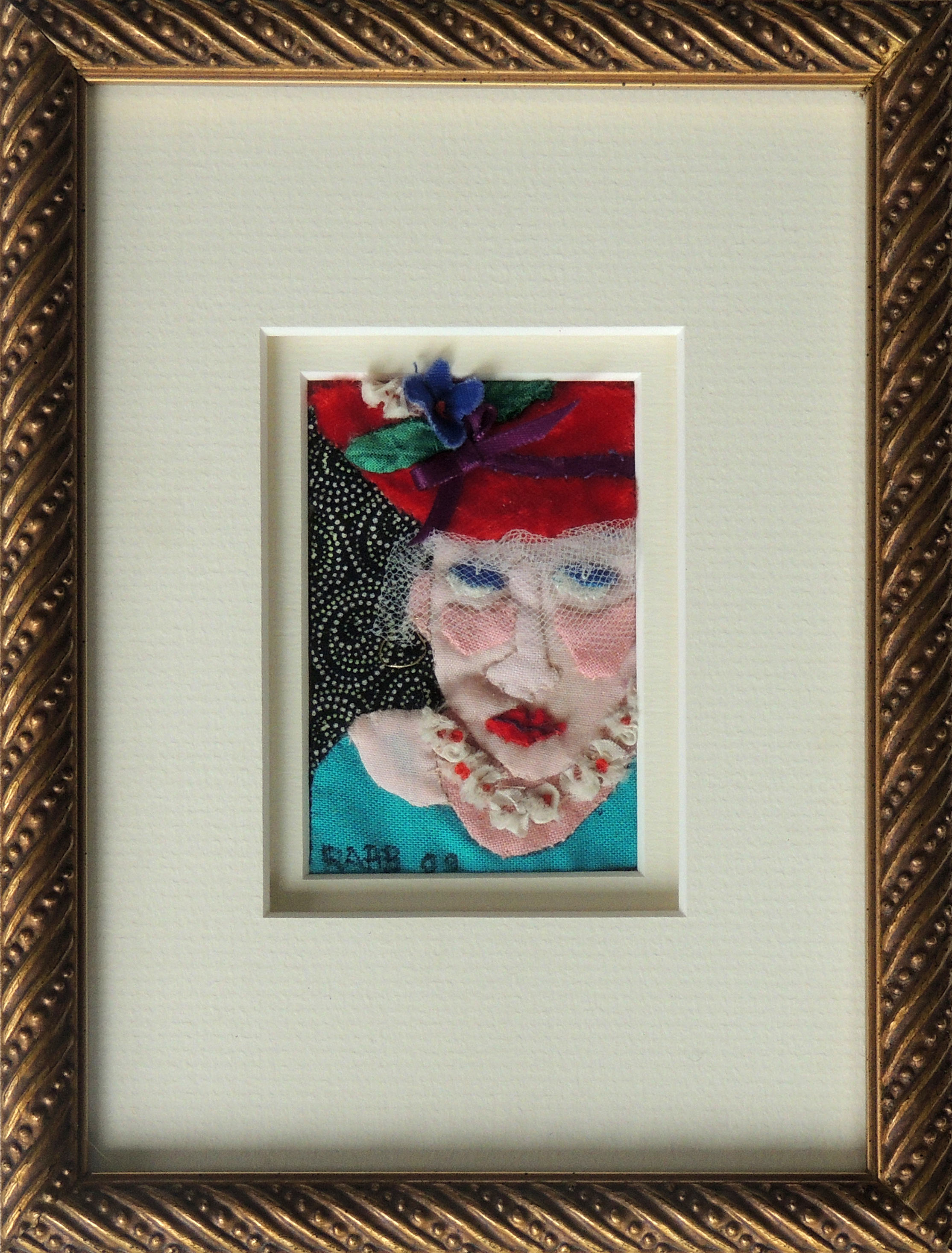 Marianne Rabb Britton | RED HAT | Fabric & Embroidery | 8 x 6"
