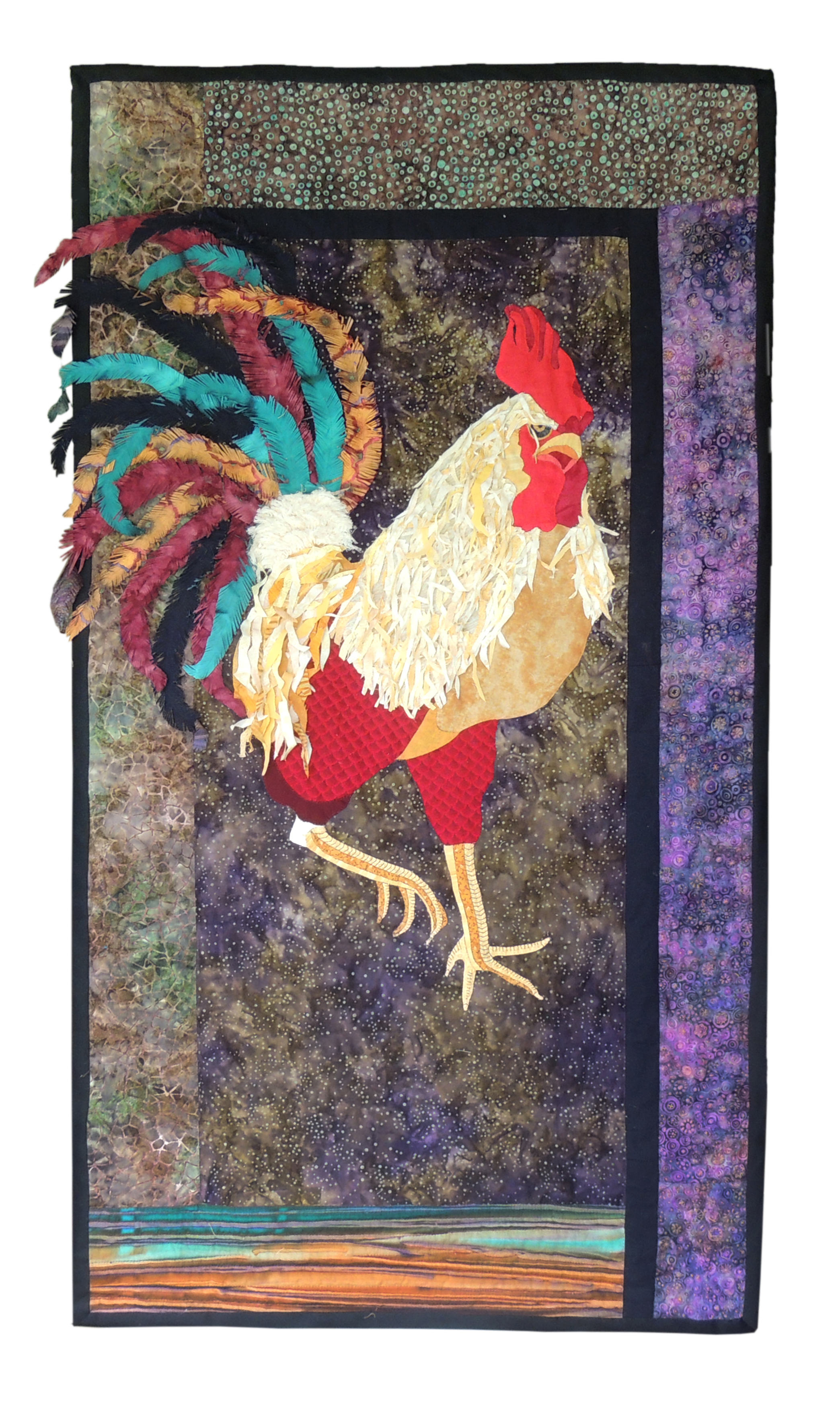 Marianne Rabb Britton | ROOSTER | Fabric & Embroidery | 56.5 x 32"