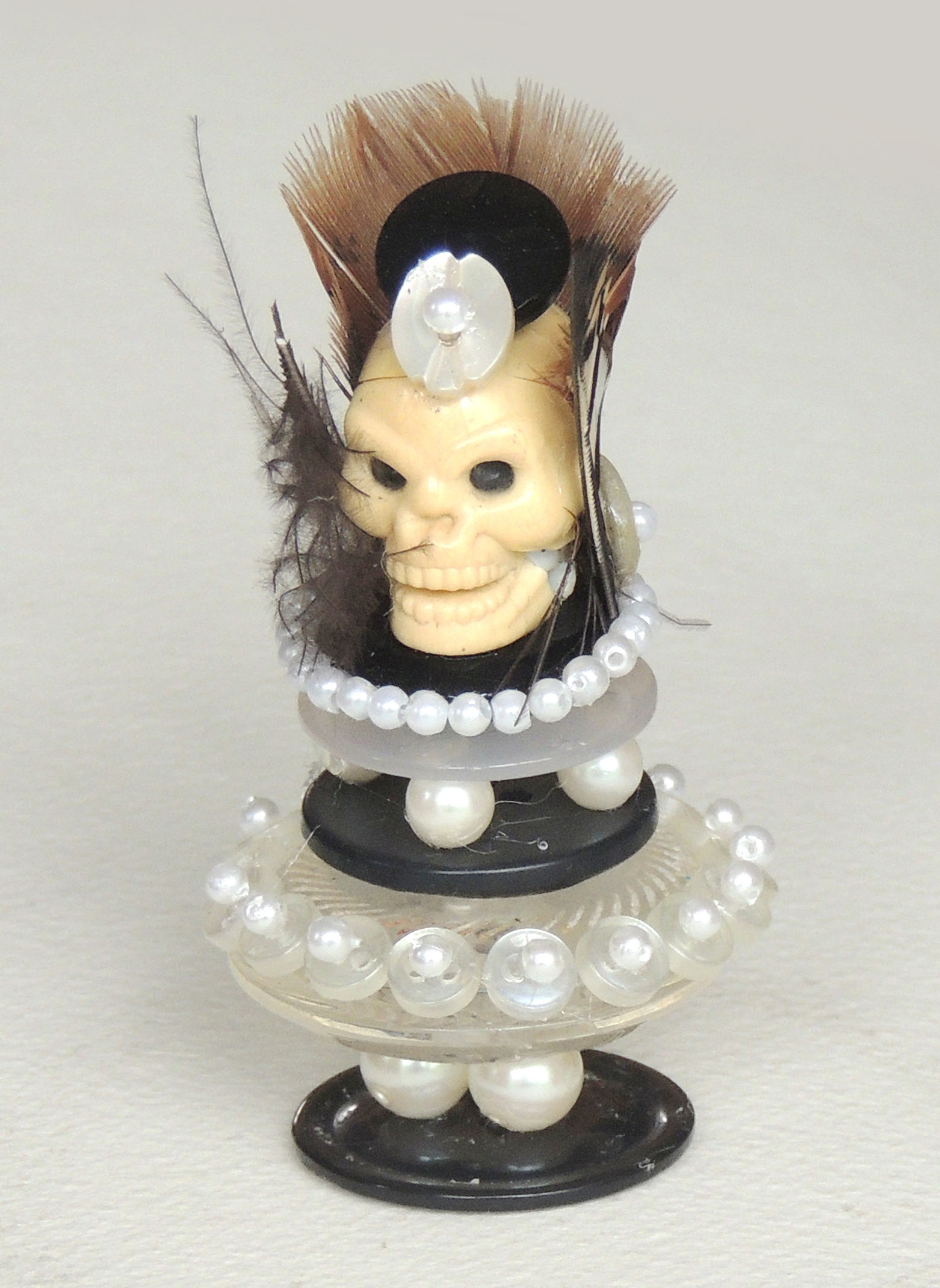 Marianne Rabb Britton | SKULL WITH BEADS | Beads & Found Objects | 3 x 1.75 x D 1.75"