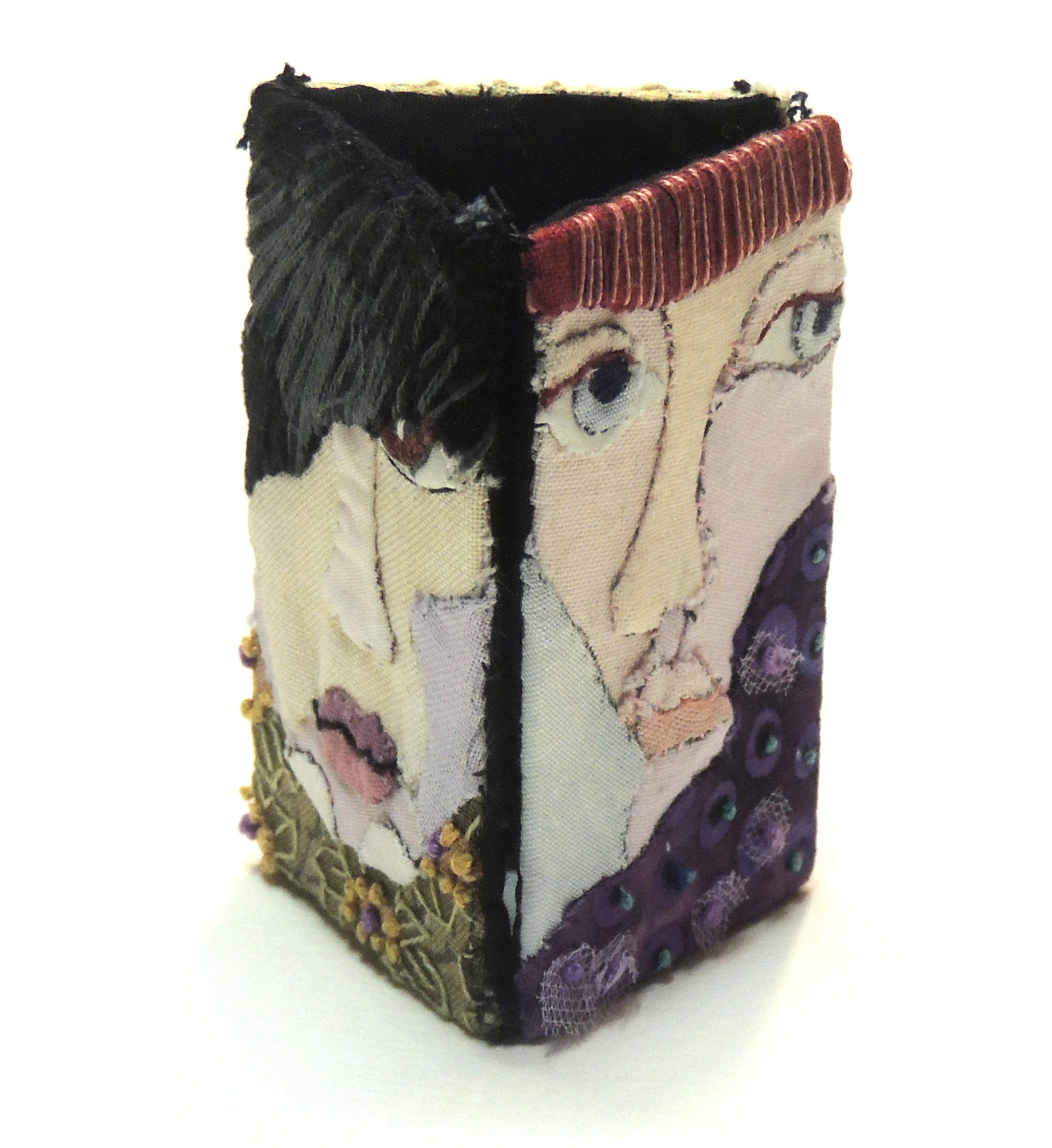 Marianne Rabb Britton | THREE FACES | Fabric & Embroidery | 3 x 1.75 x 1.75"