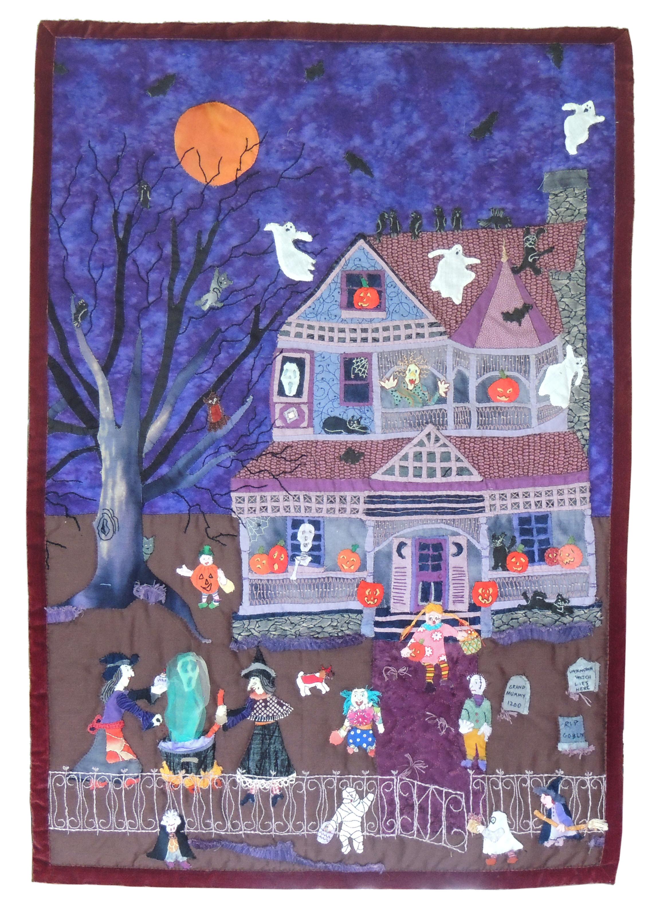 "Marianne Rabb Britton | TRICK OR TREAT| Fabric & Embroidery | 31 x 22"" | Estate of Marianne Rabb Britton"