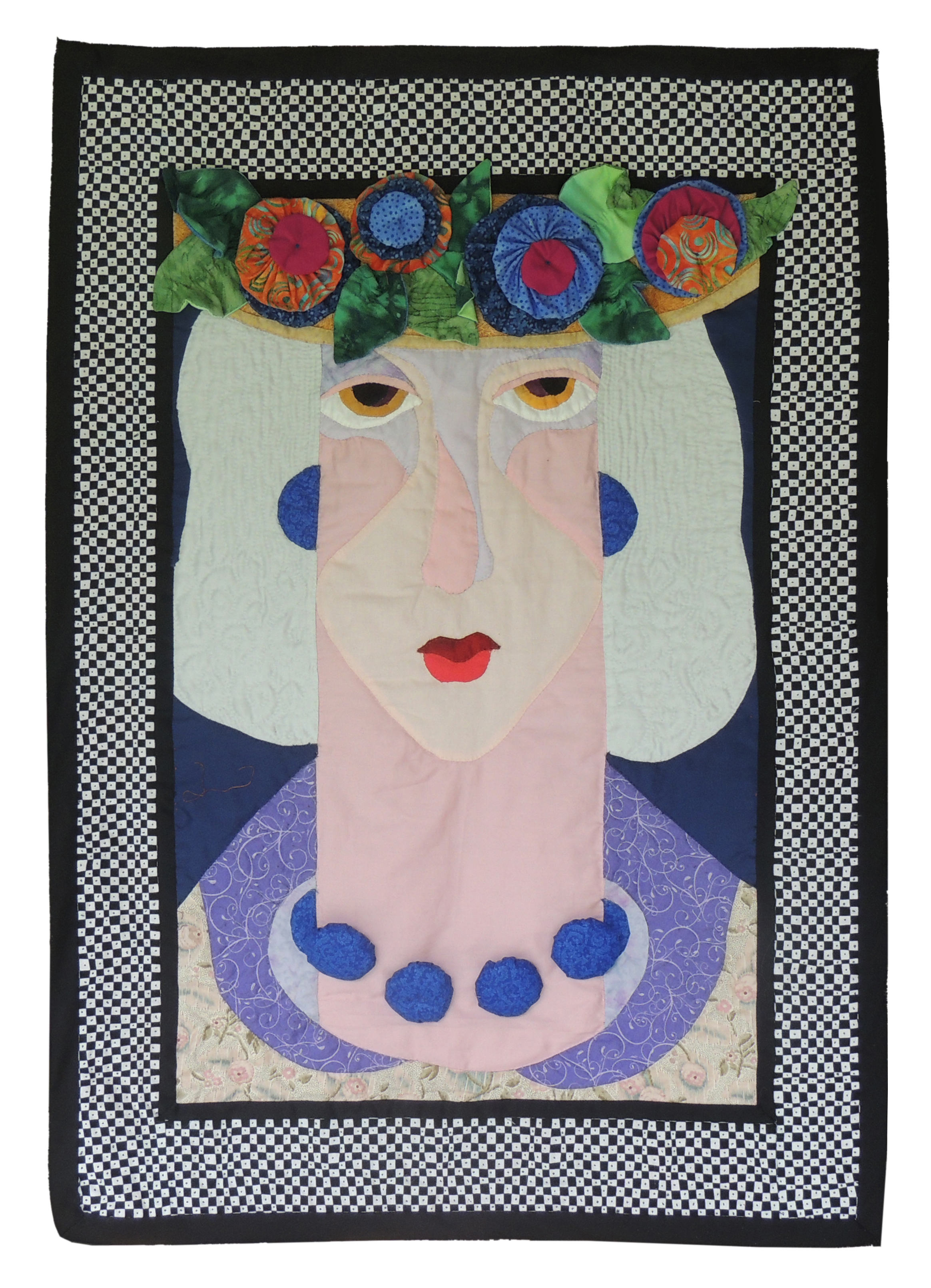 Marianne Rabb Britton | WHITE HAIR, FLOWERED HAT, BLUE NECKLACE | Fabric & Embroidery | 34.5 x 25"