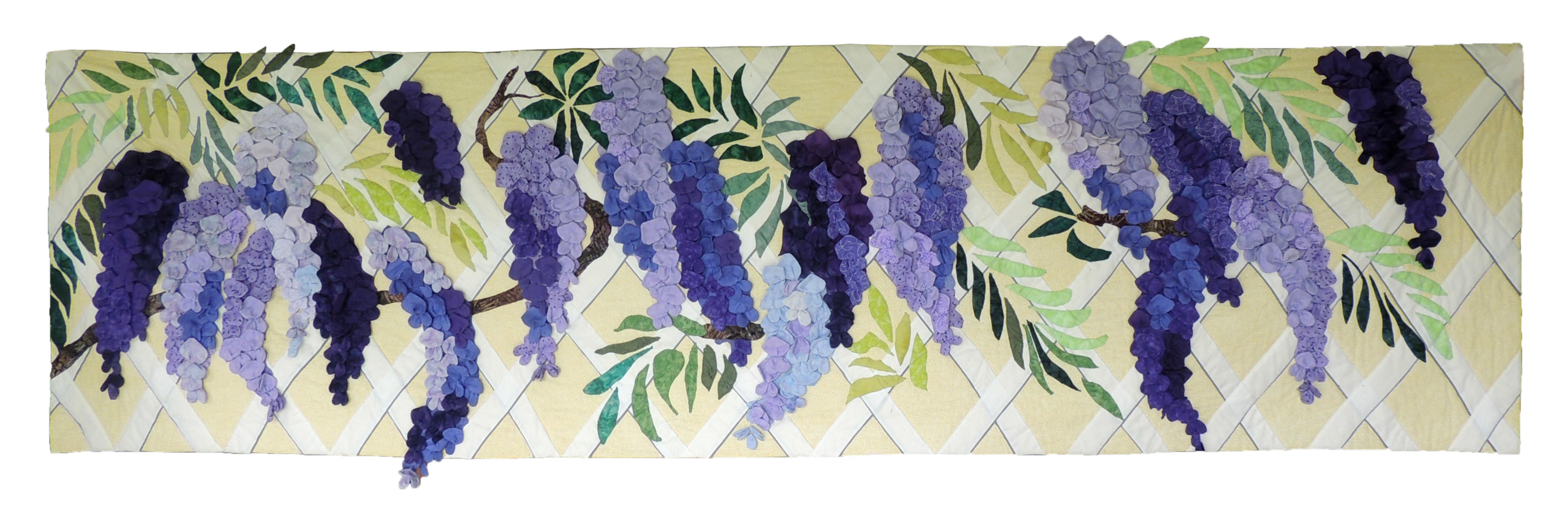 "Marianne Rabb Britton | WISTERIA | Fabric & Embroidery | 31 x 106"" | Estate of Marianne Rabb Britton"