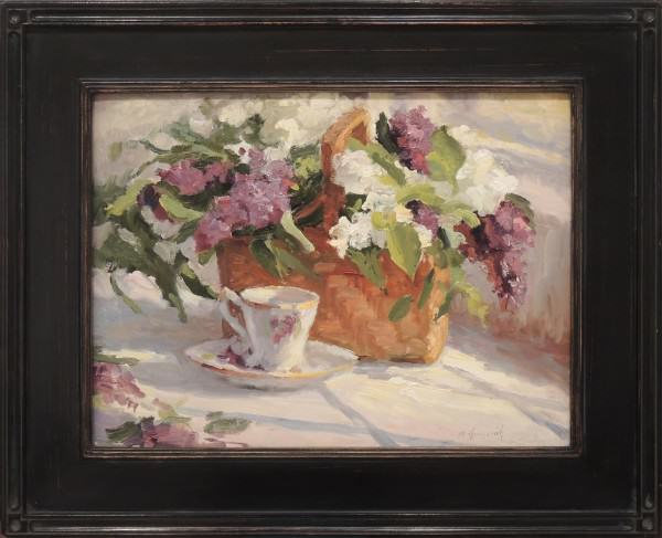 Mark Gingerich | LILACS IN A BASKET | oil on panel