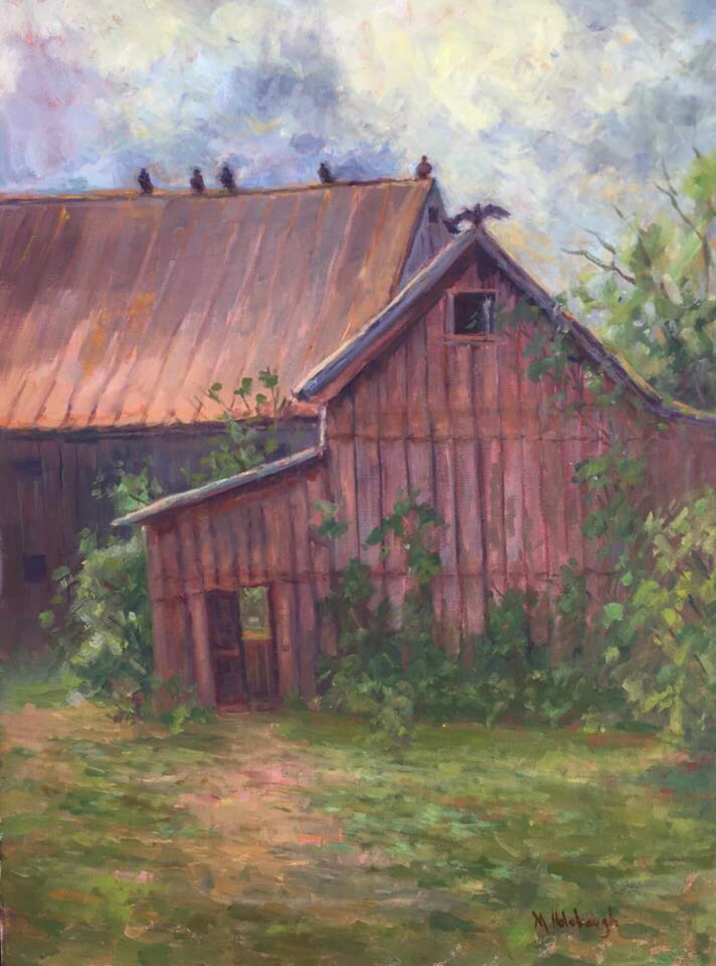 Mary Holobaugh | A GATHERING OF BUZZARDS | oil | 18 x 24