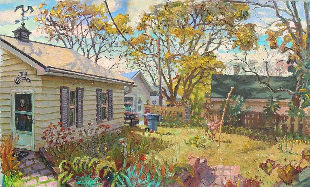 "Michael Neary   BACKYARD, AM   Oil on BFK on canvas   24 x 39""   2017"