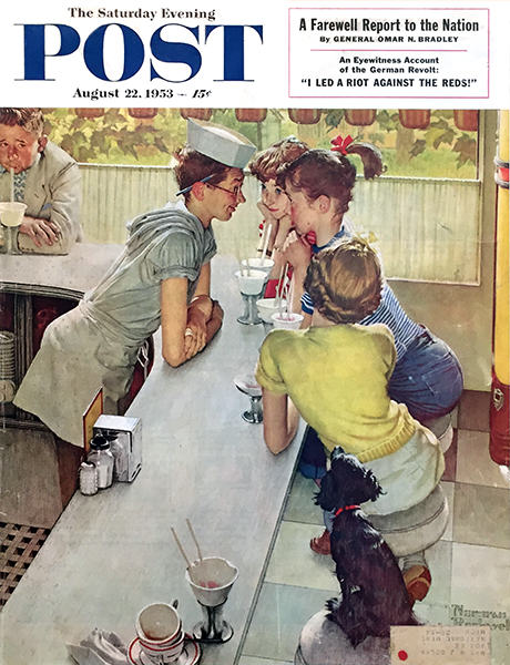 Norman Rockwell | THE SODA JERK | August 22, 1953